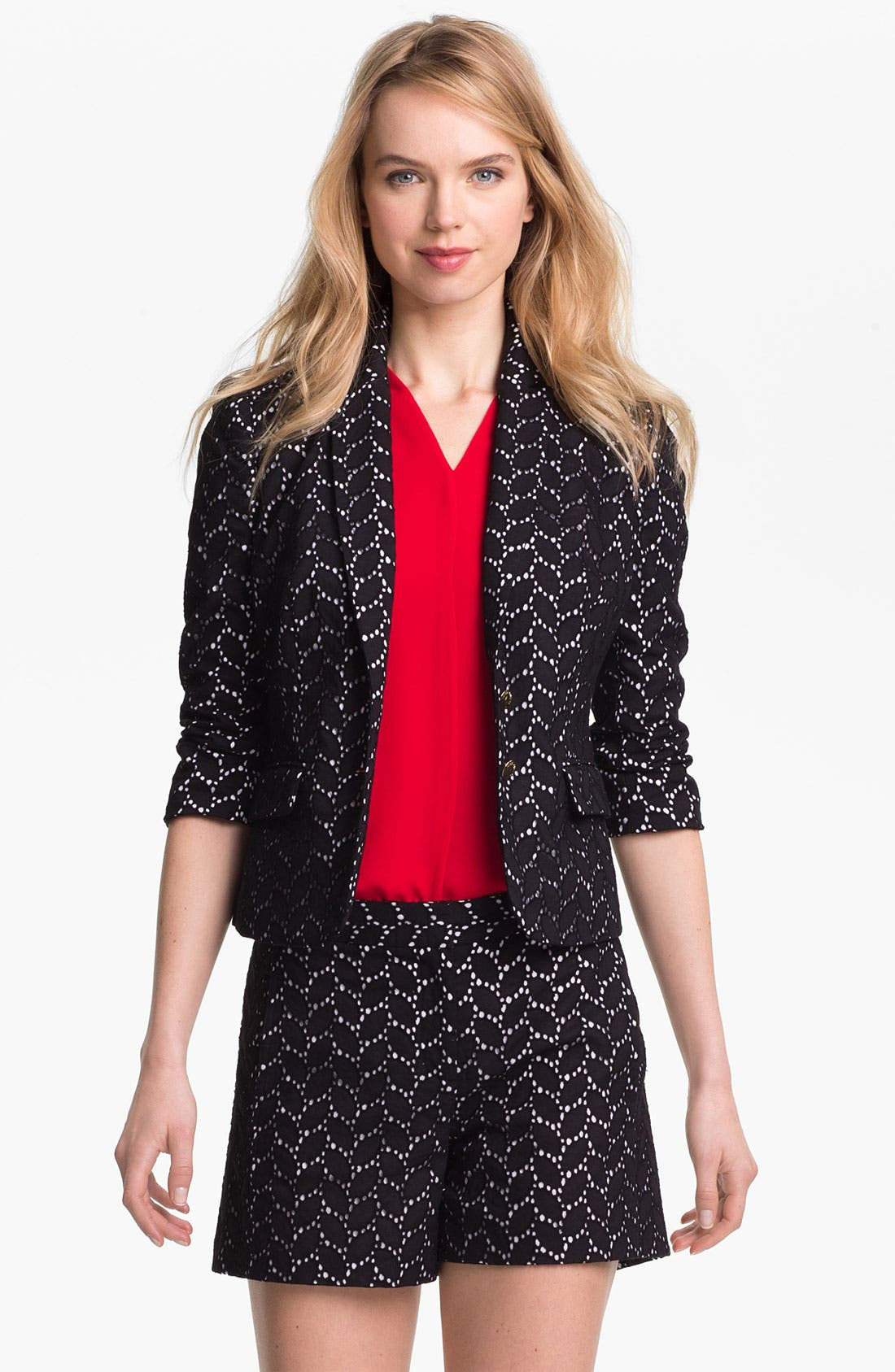 Alternate Image 1 Selected - Vince Camuto Leaf Eyelet Blazer