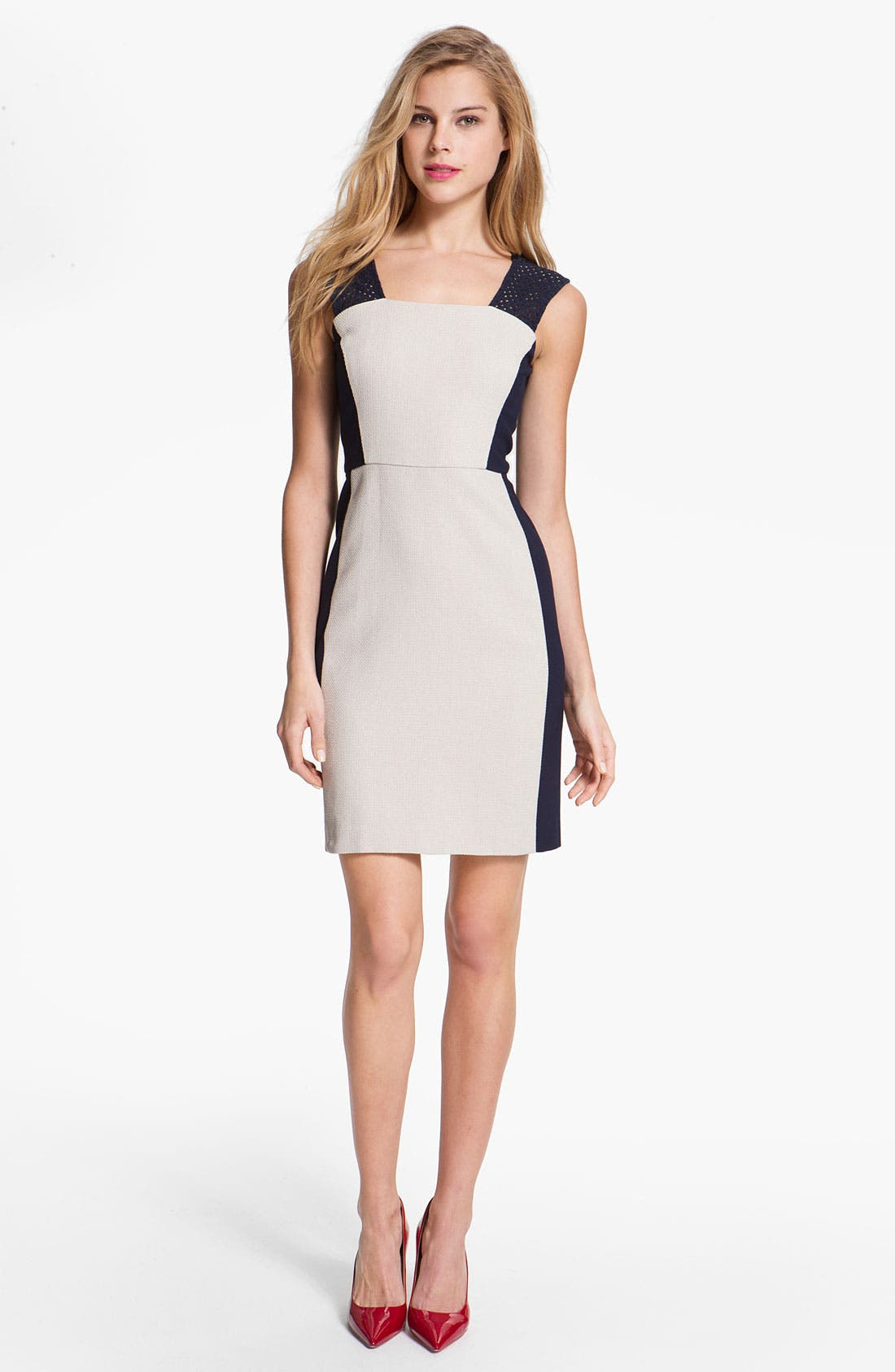 Alternate Image 1 Selected - DKNYC Eyelet Trim Colorblock Dress