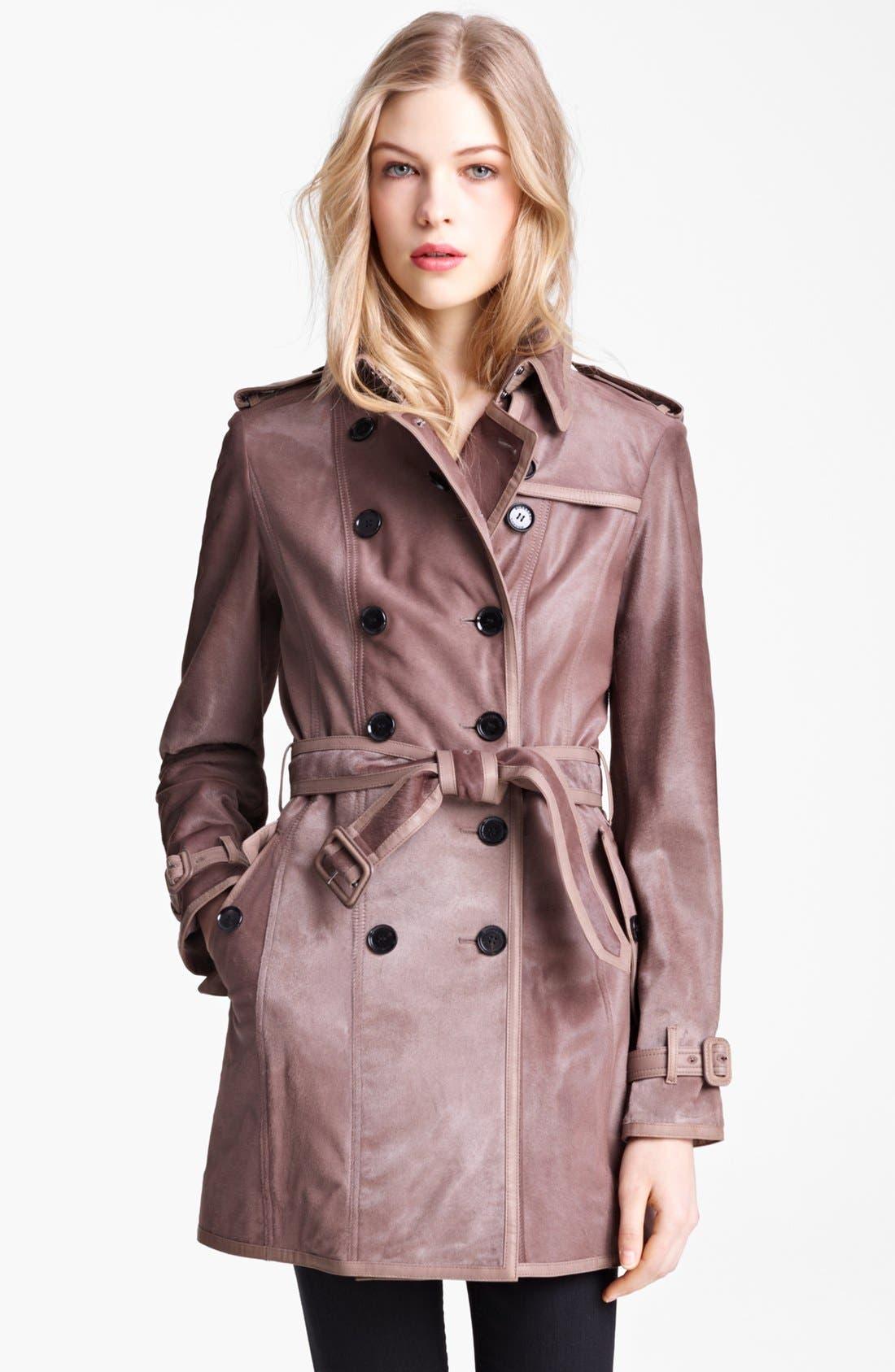 Main Image - Burberry London Shiny Calf Hair Trench Coat