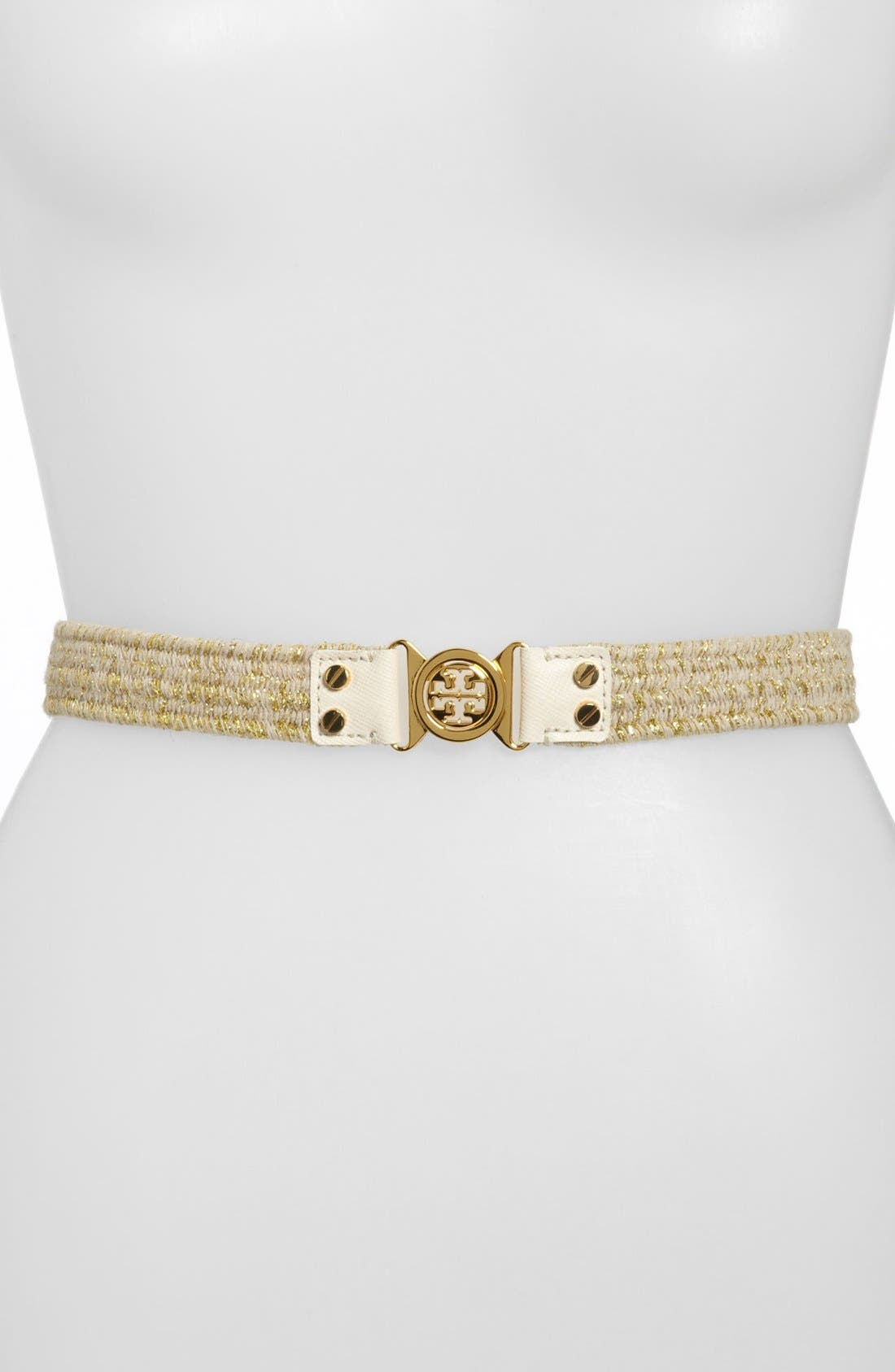 Main Image - Tory Burch 'Interlocking Logo - Mini' Stretch Belt