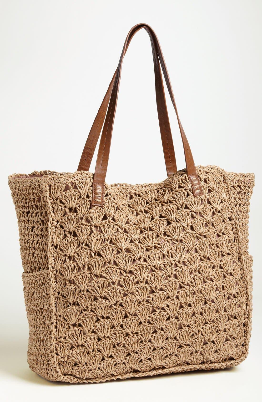 Crochet Tote,                             Main thumbnail 1, color,                             Brown