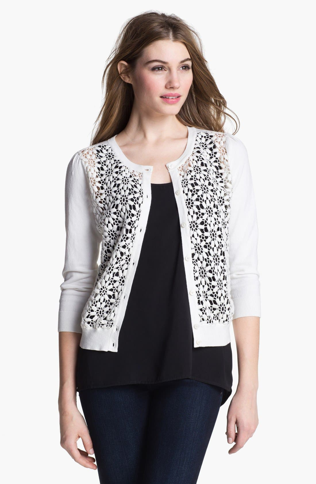 Alternate Image 1 Selected - Vince Camuto Lace Front Cardigan