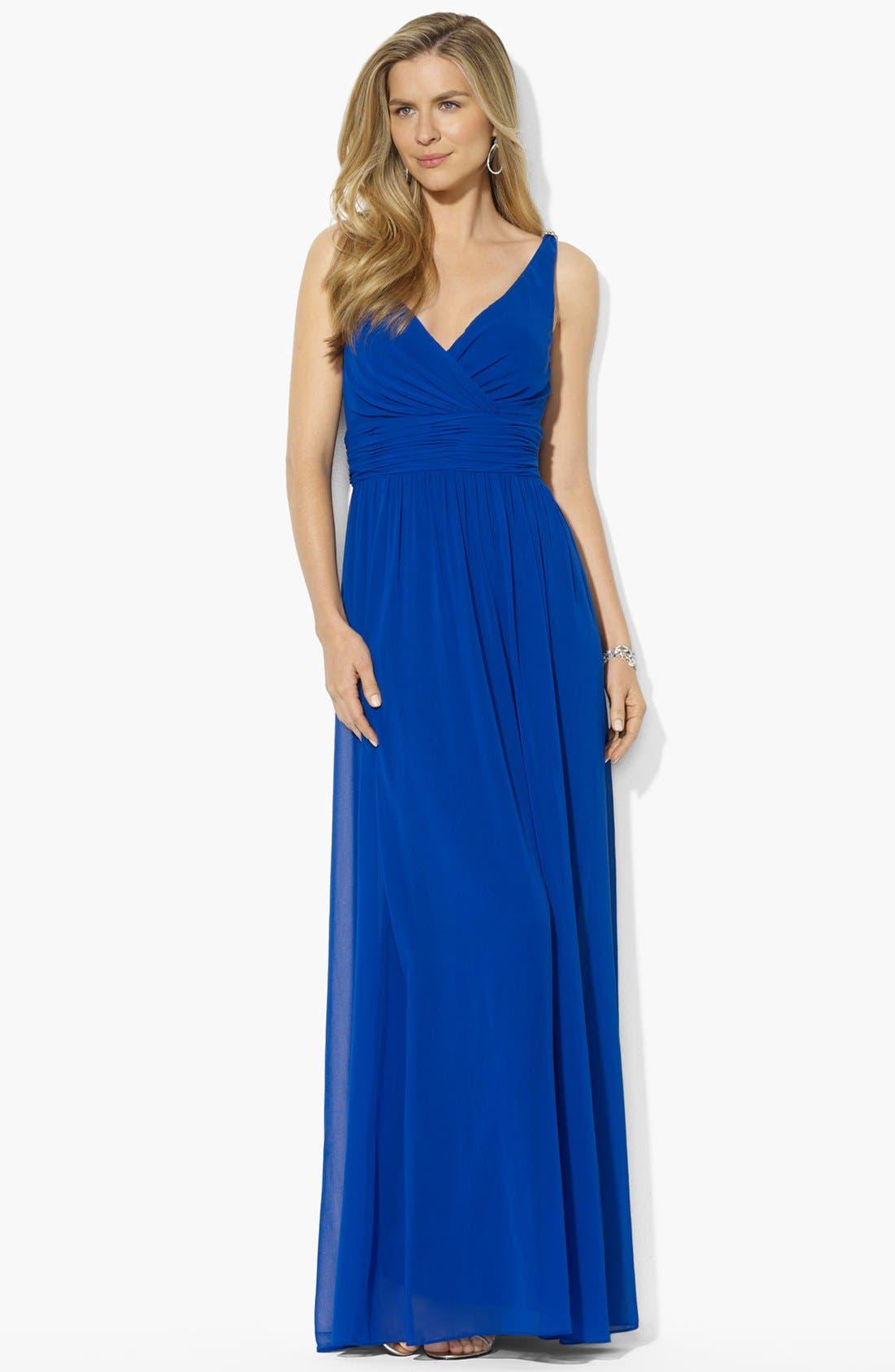 Main Image - Lauren Ralph Lauren Embellished Georgette Gown