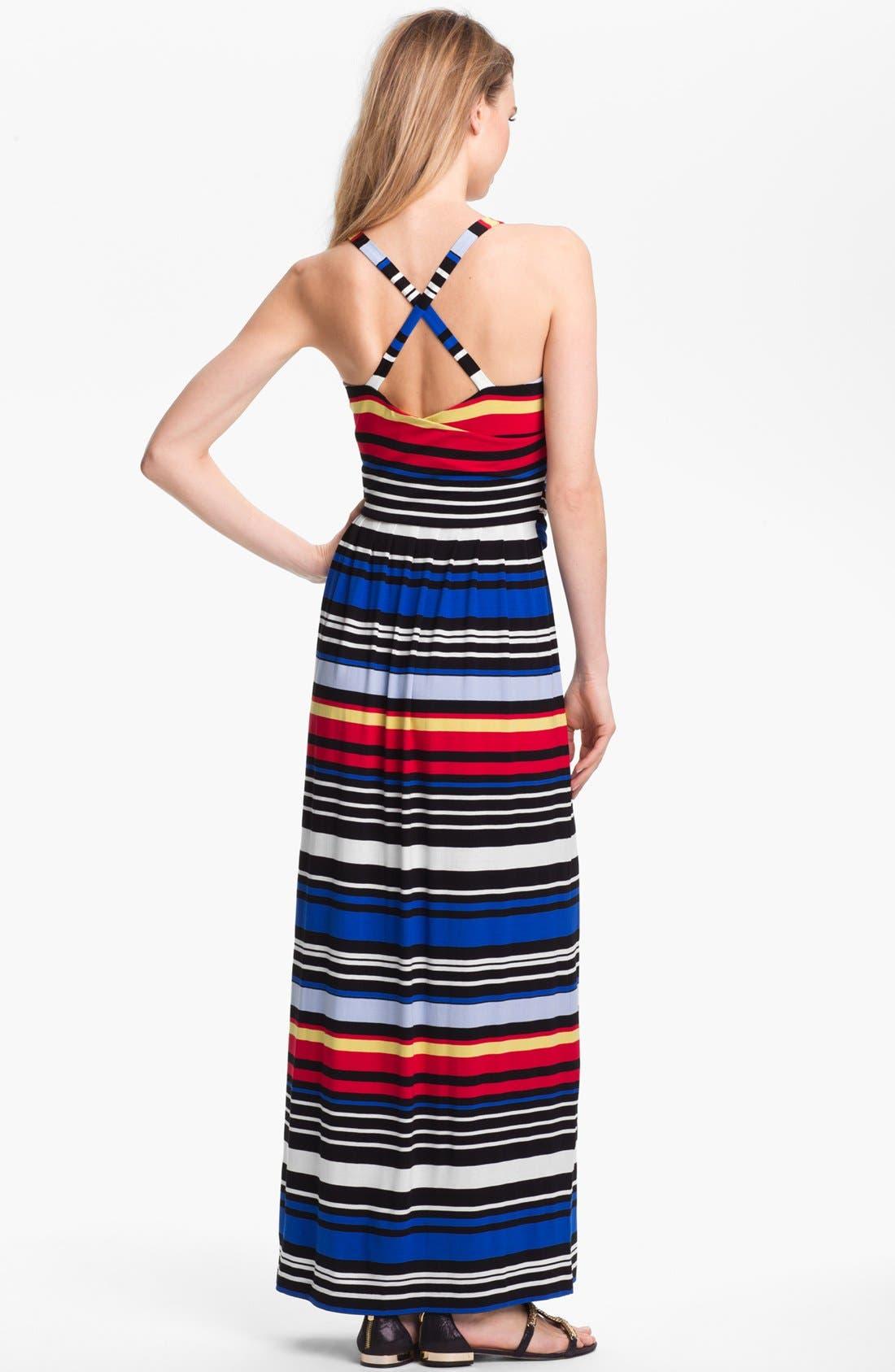 Alternate Image 2  - Vince Camuto Bright Stripe Halter Maxi Dress