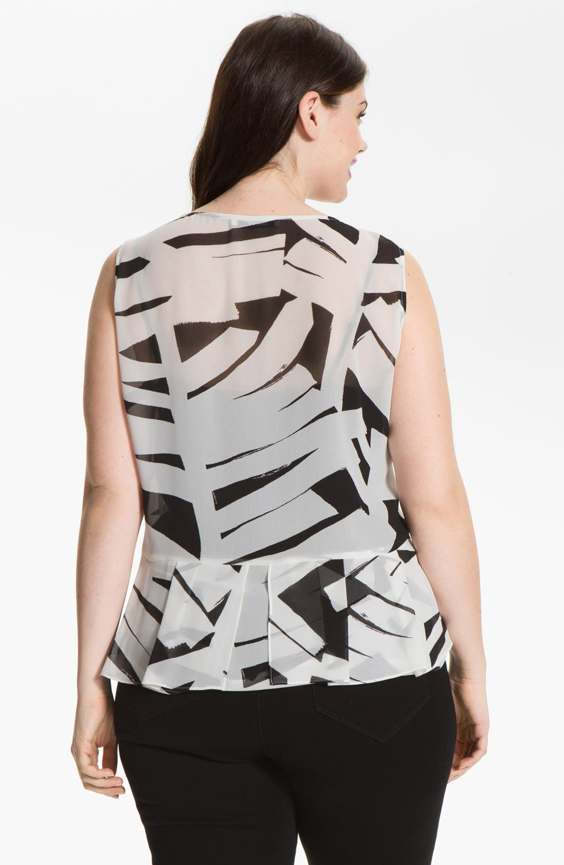 Alternate Image 2  - DKNYC Print Chiffon Peplum Blouse (Plus Size)