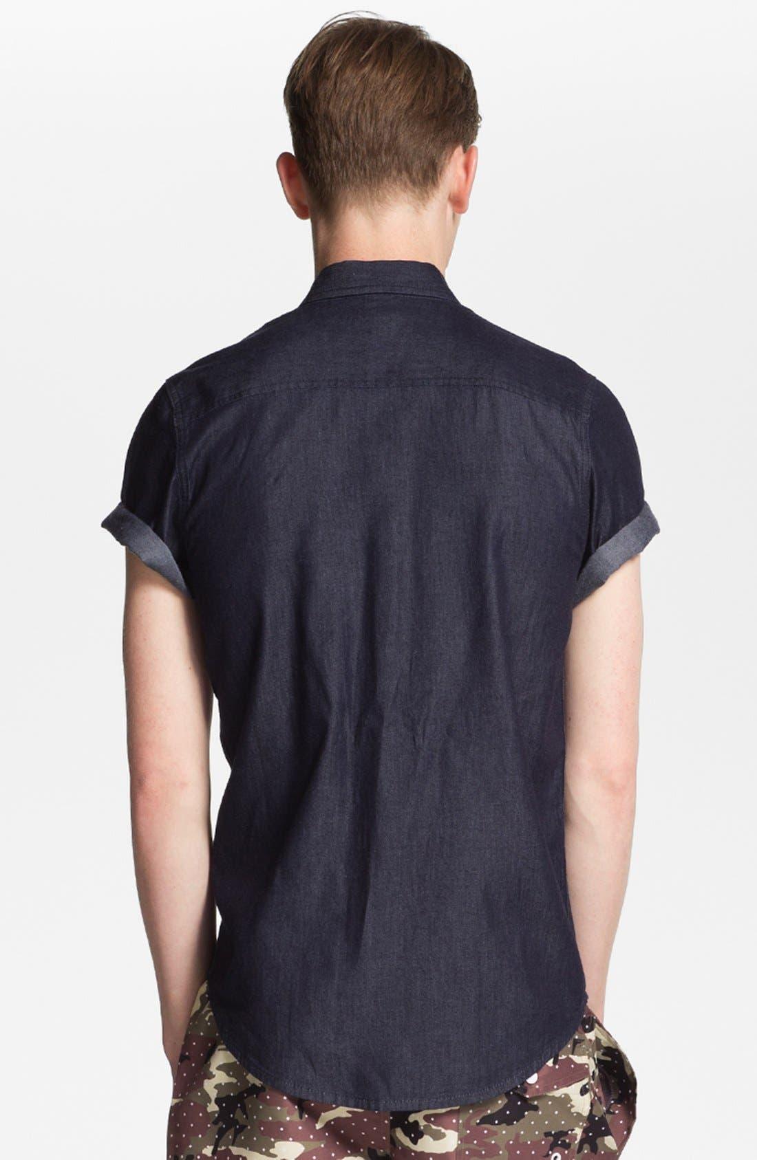 Alternate Image 2  - Topman 'Smart' Short Sleeve Chambray Denim Shirt