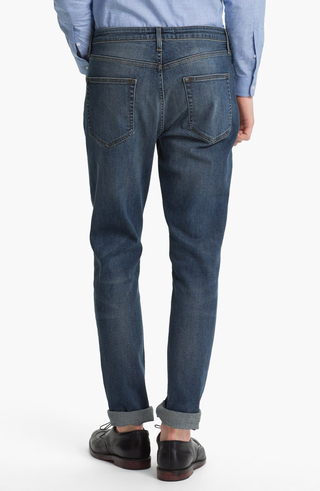 Alternate Image 1 Selected - Topman Slim Skinny Leg Jeans (Medium Blue)