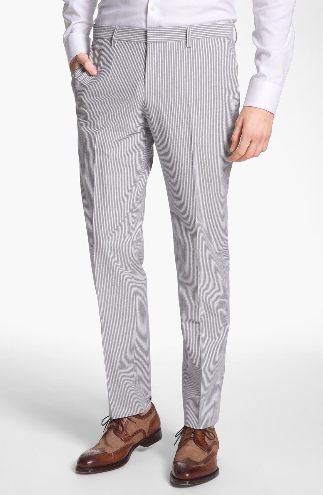 Alternate Image 4  - BOSS Black 'Hedge/Gense' Trim Fit Seersucker Suit