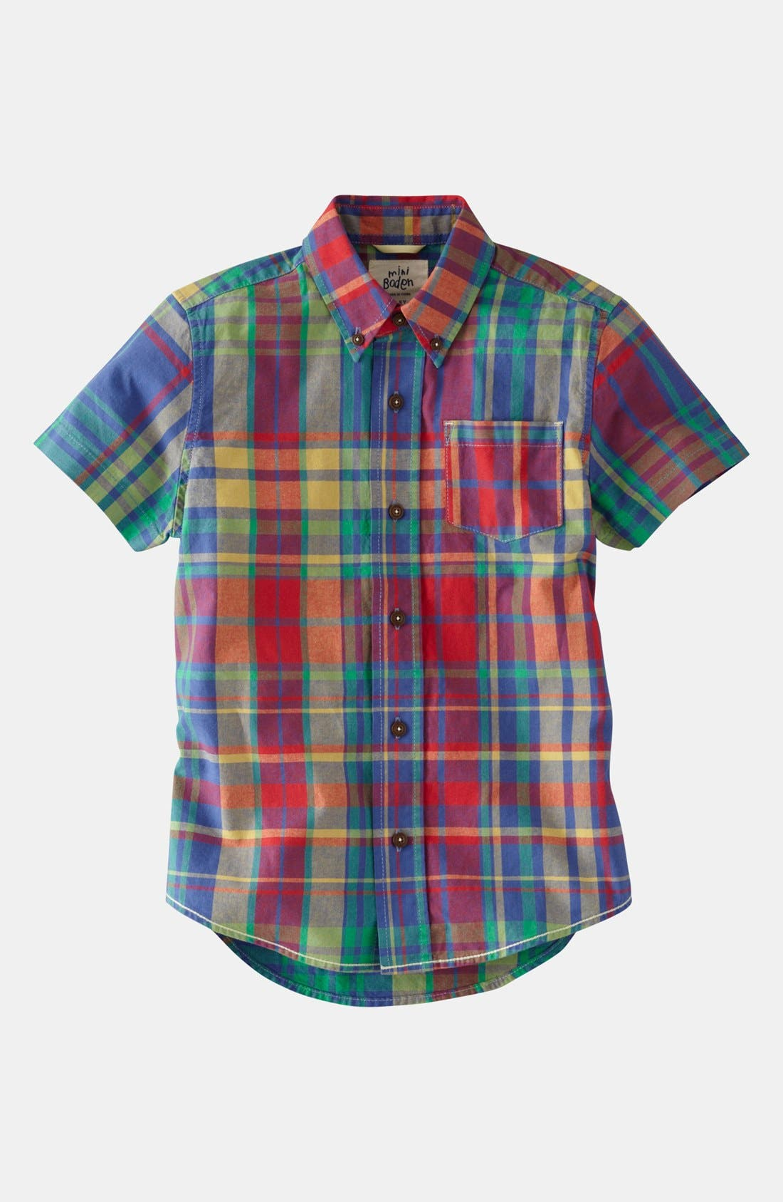 Alternate Image 1 Selected - Mini Boden 'Summer Check' Shirt (Little Boys & Big Boys)