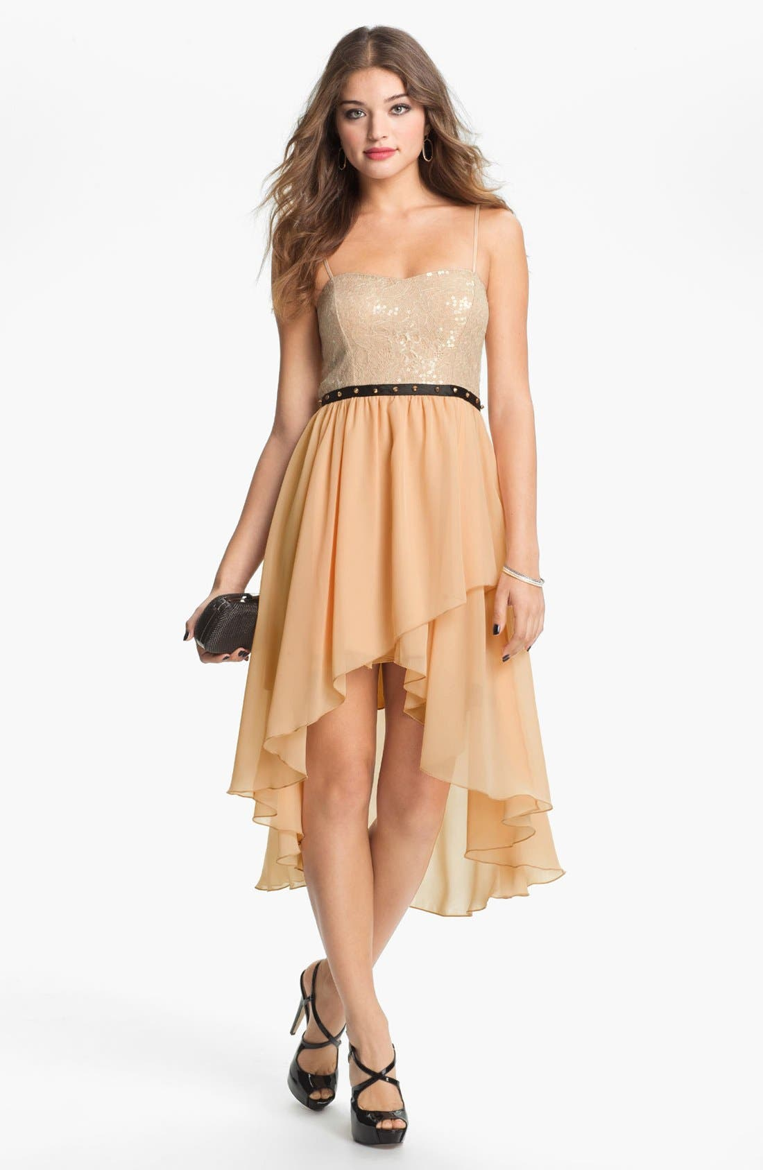 Main Image - Way-In Studded Waist High/Low Dress (Juniors)