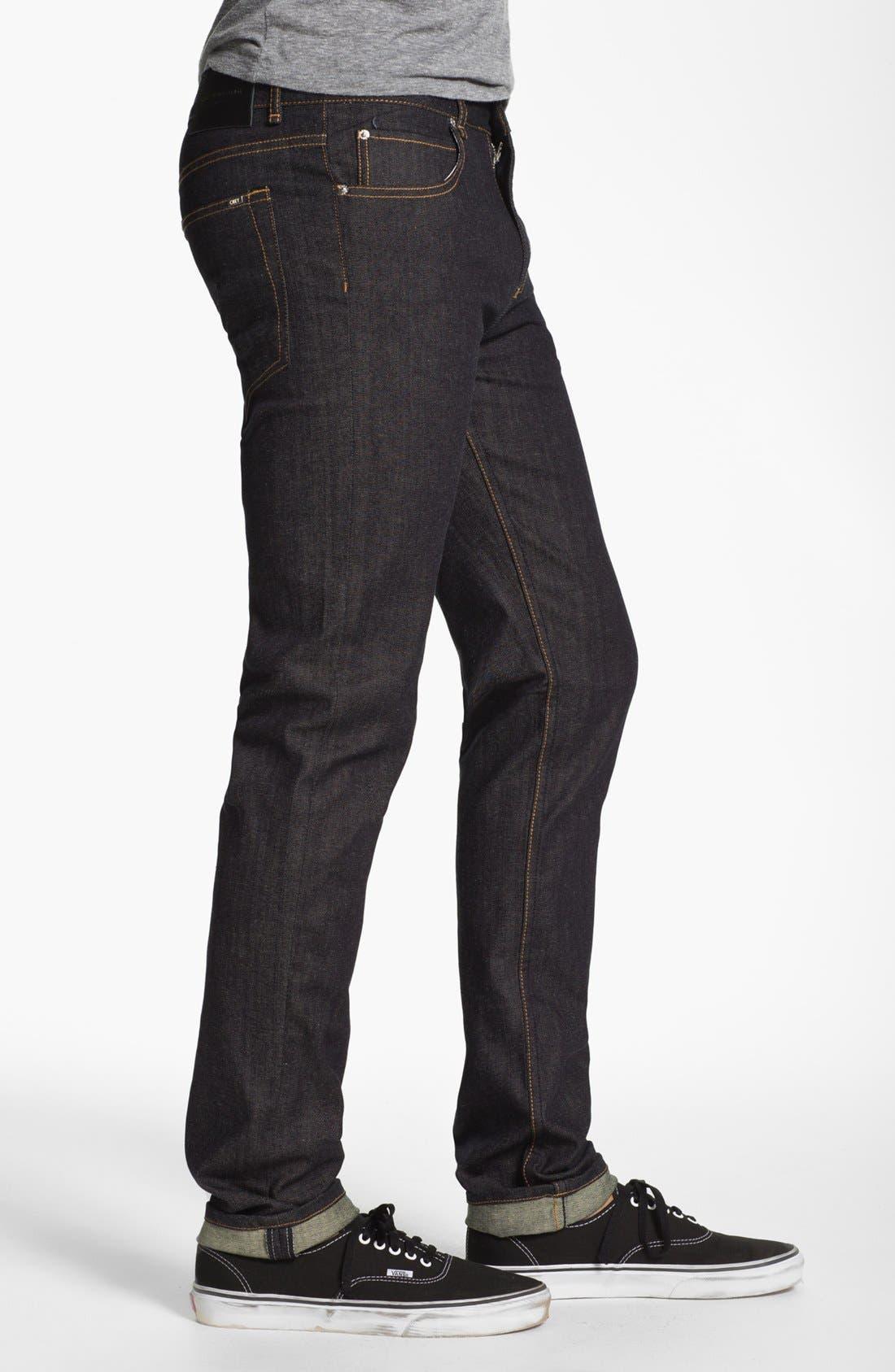 Alternate Image 3  - Obey 'Juvee' Slim Fit Selvedge Jeans (Raw Indigo)