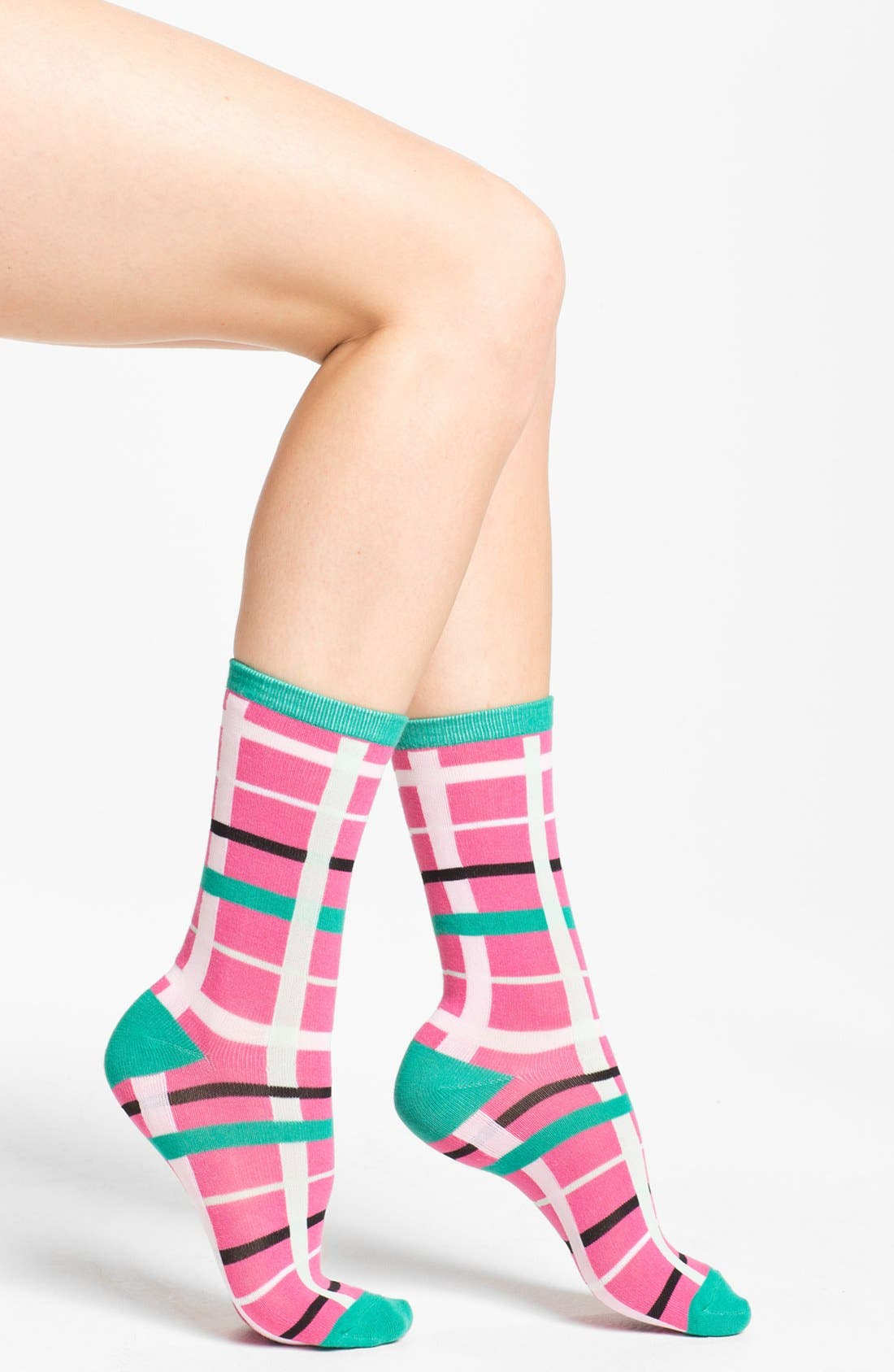 Alternate Image 1 Selected - Nordstrom 'Soft Touch' Plaid Crew Socks