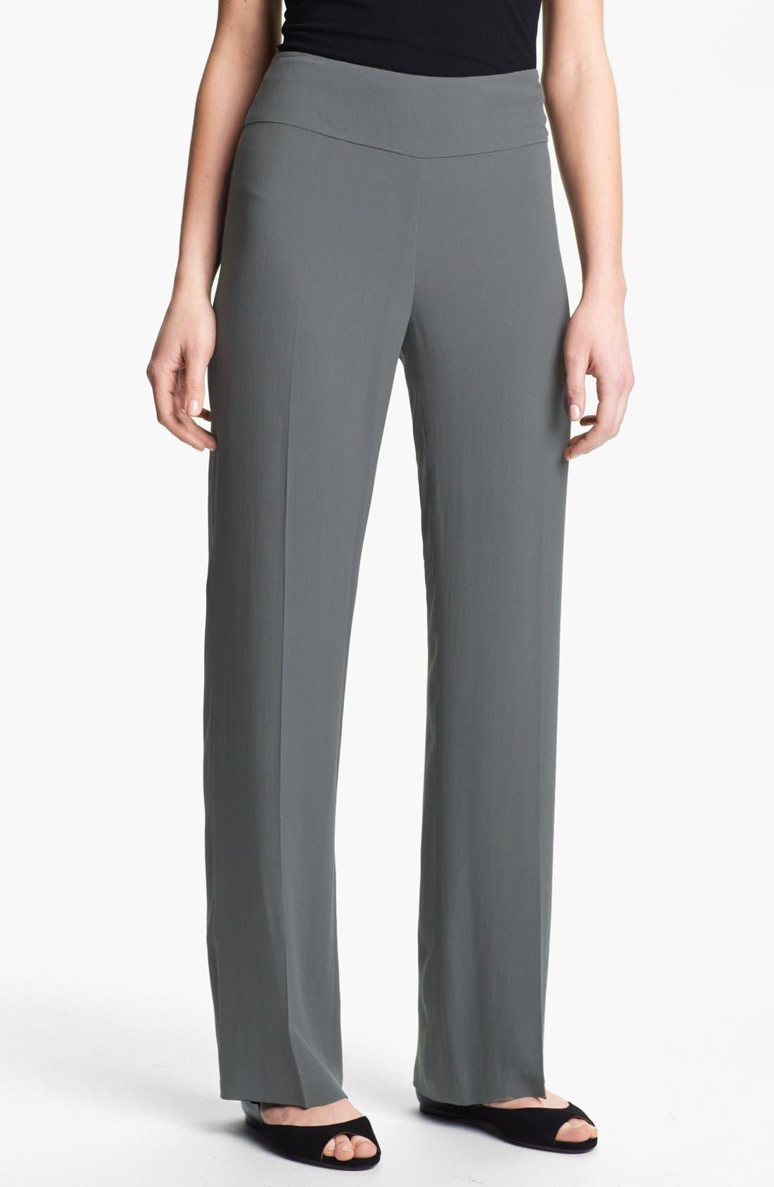 Alternate Image 1 Selected - Eileen Fisher Silk Georgette Crepe Pants (Petite)