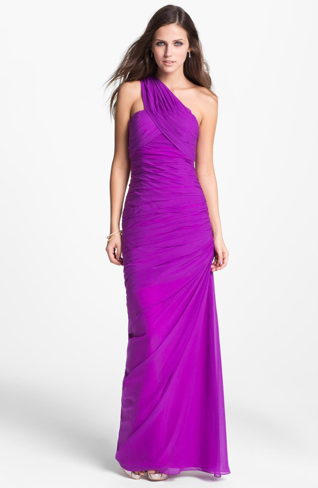 Ruched One Shoulder Chiffon Gown,                         Main,                         color, Magenta