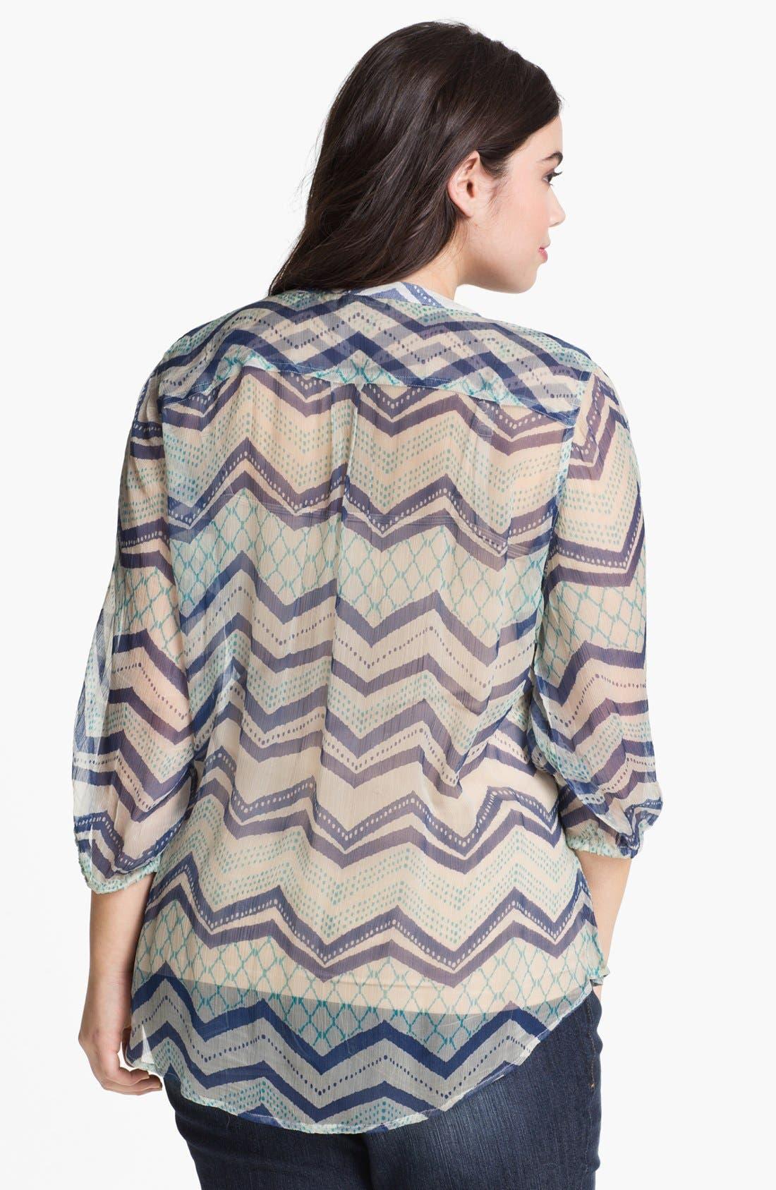 Alternate Image 2  - Lucky Brand 'Terrenea' Stripe Blouse (Plus Size)