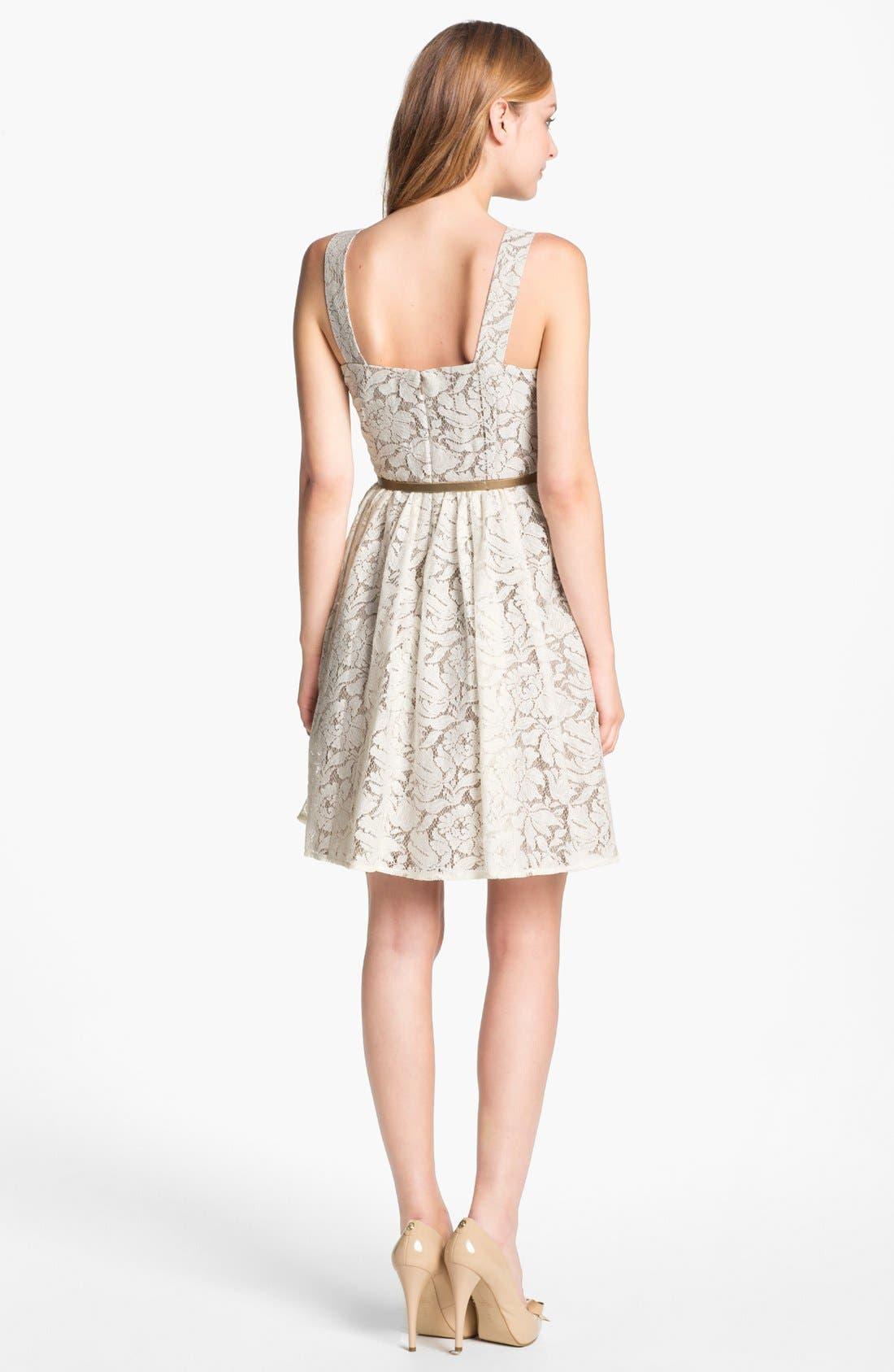 Alternate Image 2  - Eliza J Lace Fit & Flare Dress (Petite)