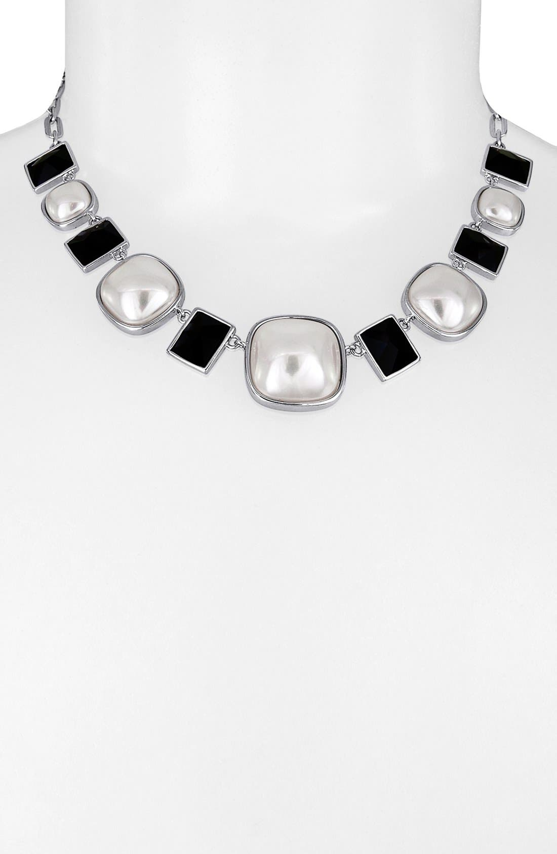 Main Image - Majorica 'Graphic Contrast' Mabe Pearl Necklace