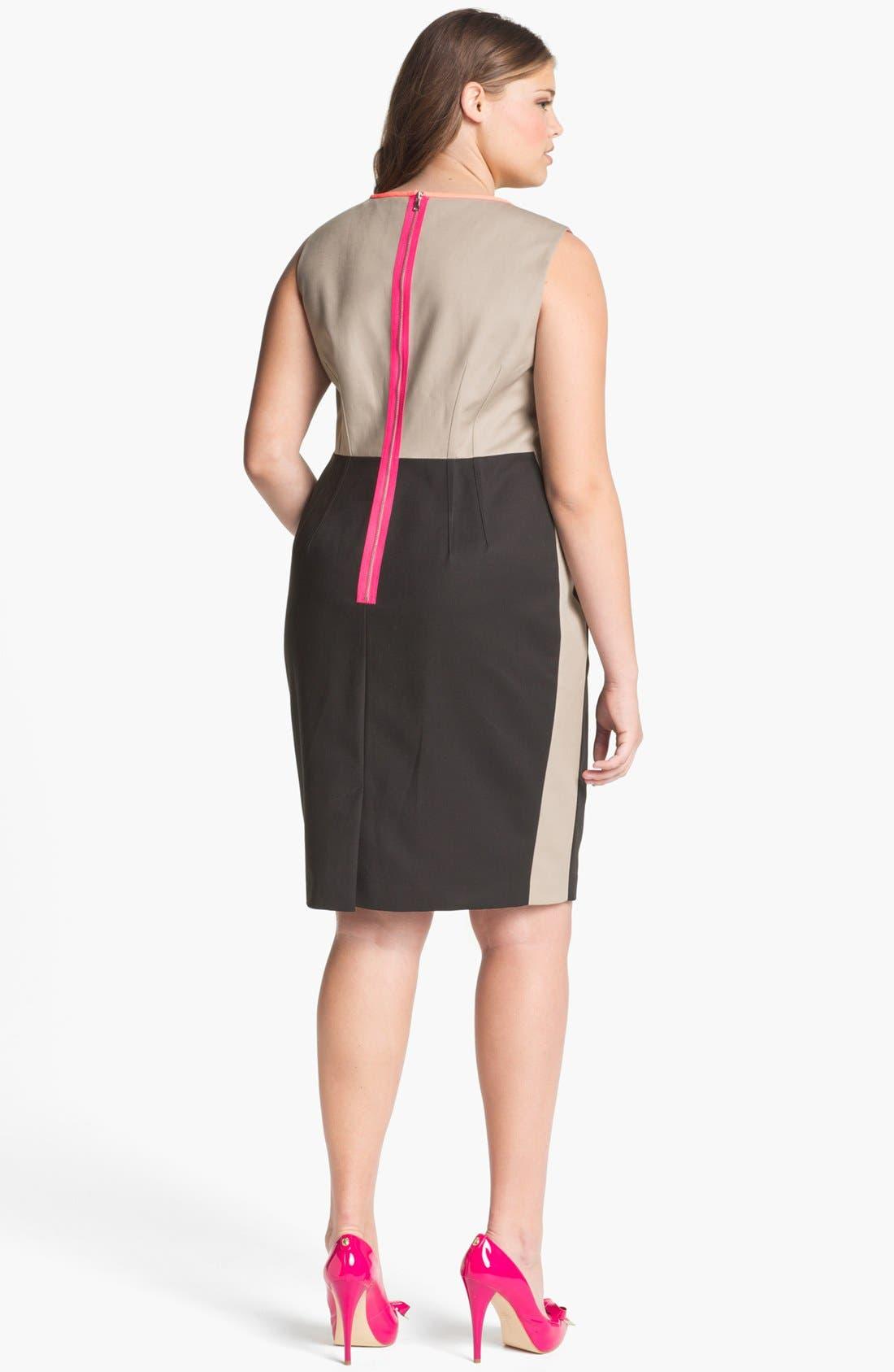 Alternate Image 2  - Tahari Woman 'Dakota' Colorblock Sheath Dress (Plus Size)