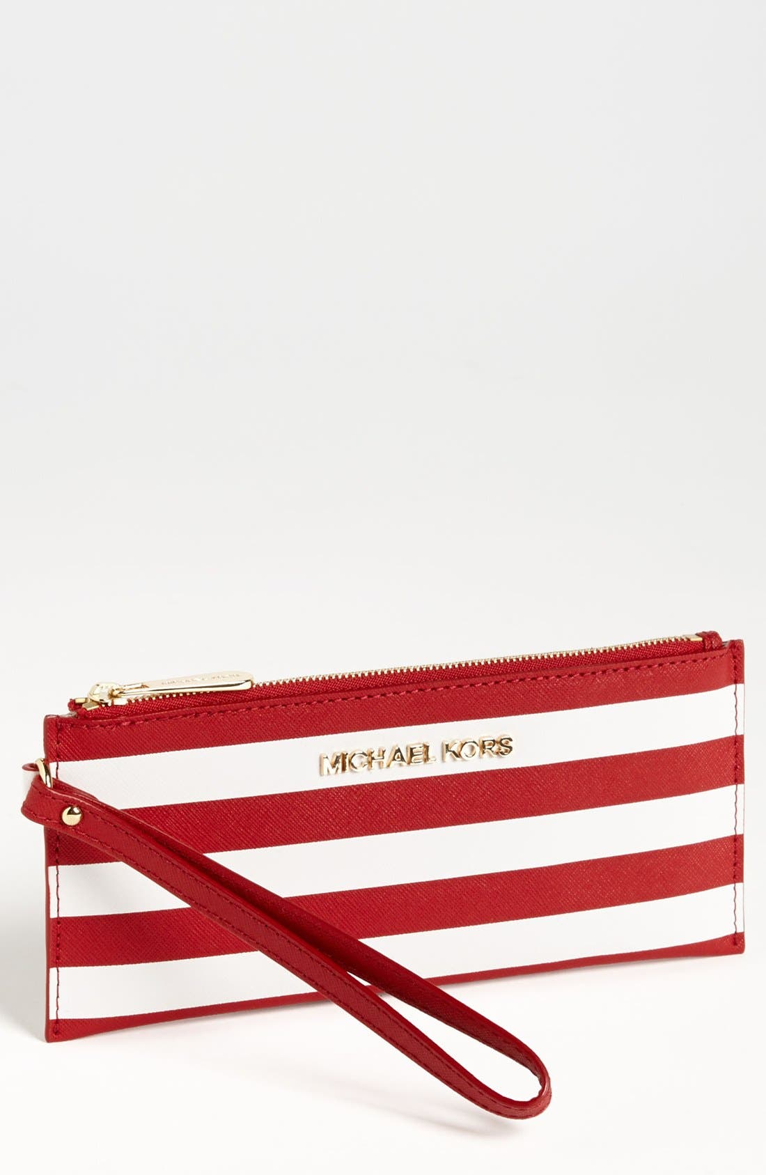Main Image - MICHAEL Michael Kors 'Small' Stripe Zip Clutch