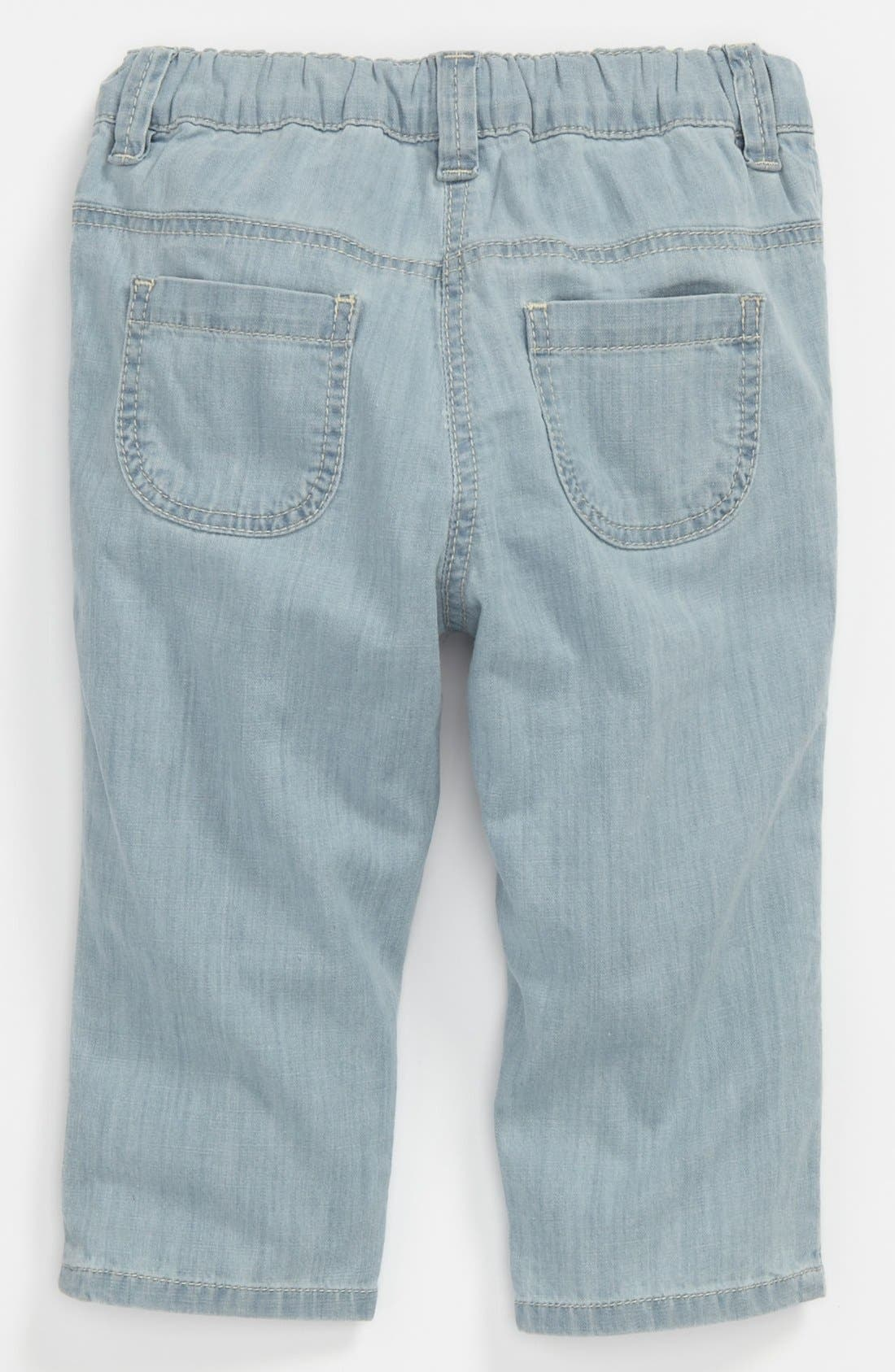 Alternate Image 1 Selected - Chloé Bleached Denim Pants (Baby)