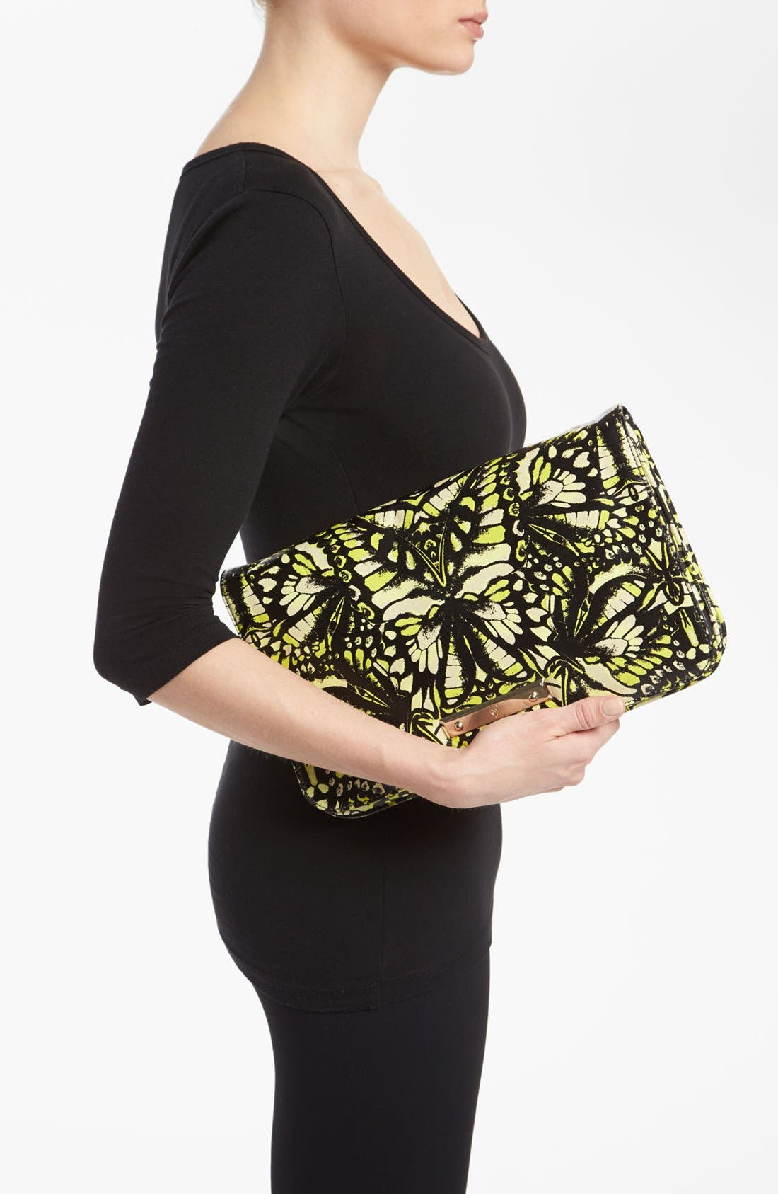 Alternate Image 2  - McQ by Alexander McQueen 'Metal Plate' Print Leather Clutch