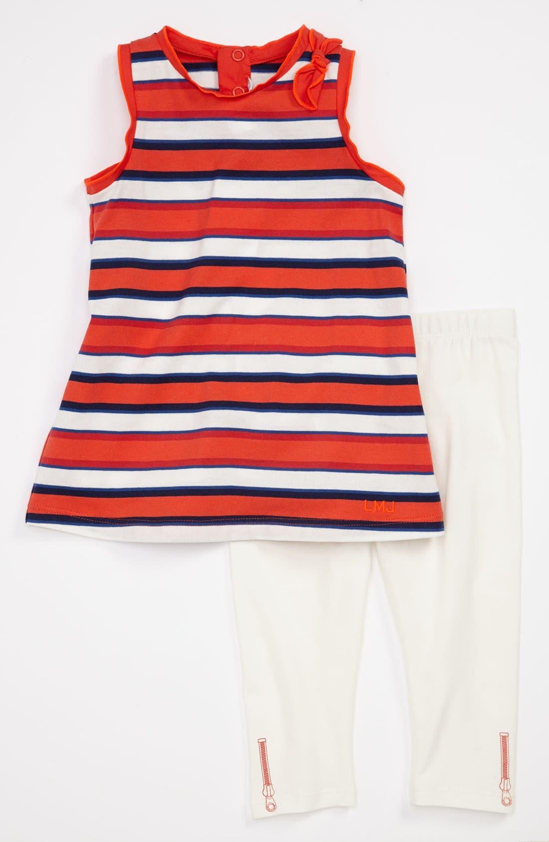 Alternate Image 1 Selected - LITTLE MARC JACOBS Stripe Dress & Leggings (Baby)