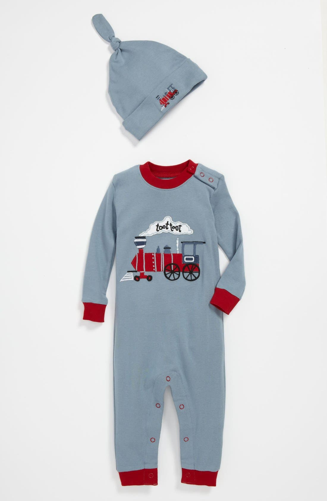 Alternate Image 1 Selected - Hatley Fitted Romper Pajamas & Hat (Baby)
