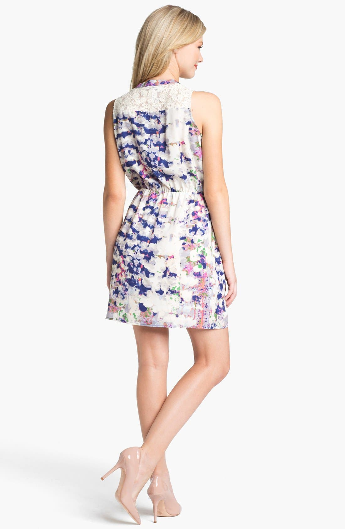 Alternate Image 2  - Collective Concepts Print Lace Detail Shirtdress