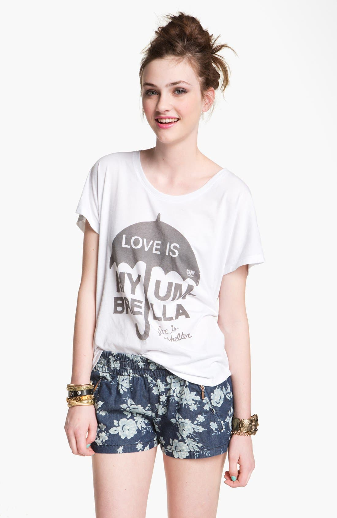 Alternate Image 1 Selected - Malibu Native 'Love Is My Umbrella' Tee (Juniors)