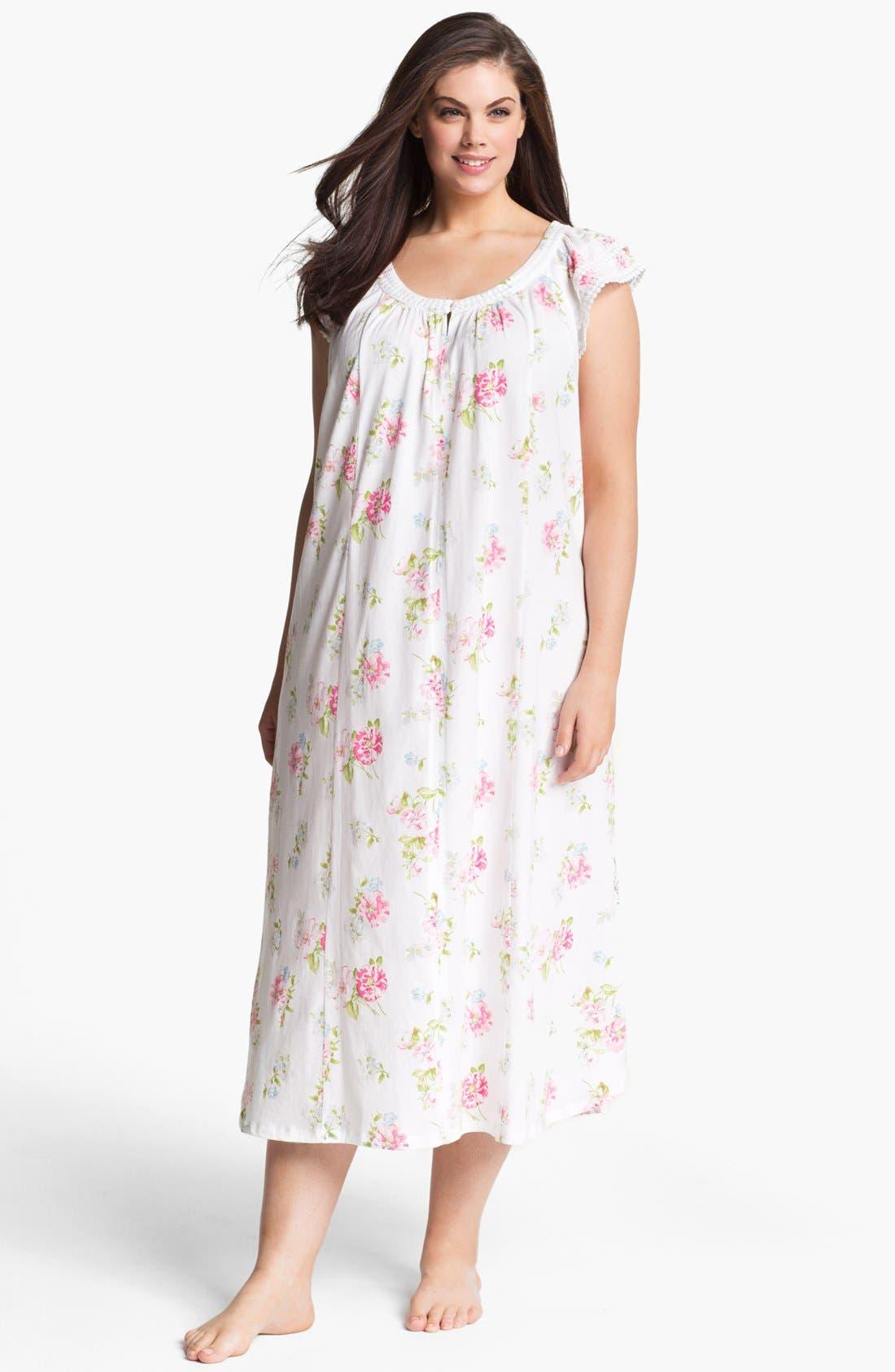 Alternate Image 1 Selected - Carole Hochman Designs Cap Sleeve Nightgown (Plus Size)