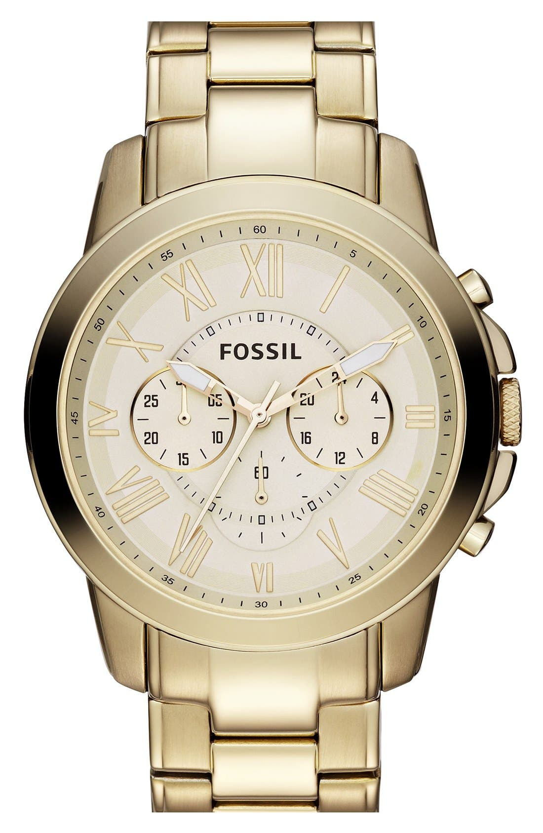 Main Image - Fossil 'Grant' Chronograph Bracelet Watch, 44mm