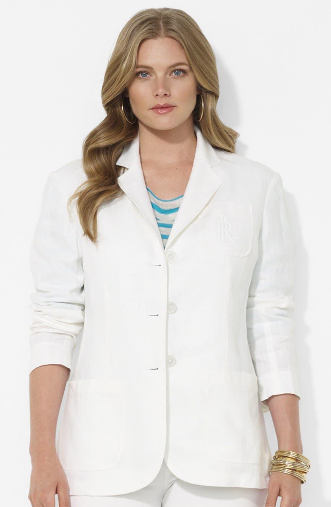 Main Image - Lauren Ralph Lauren Boyfriend Jacket (Plus Size)