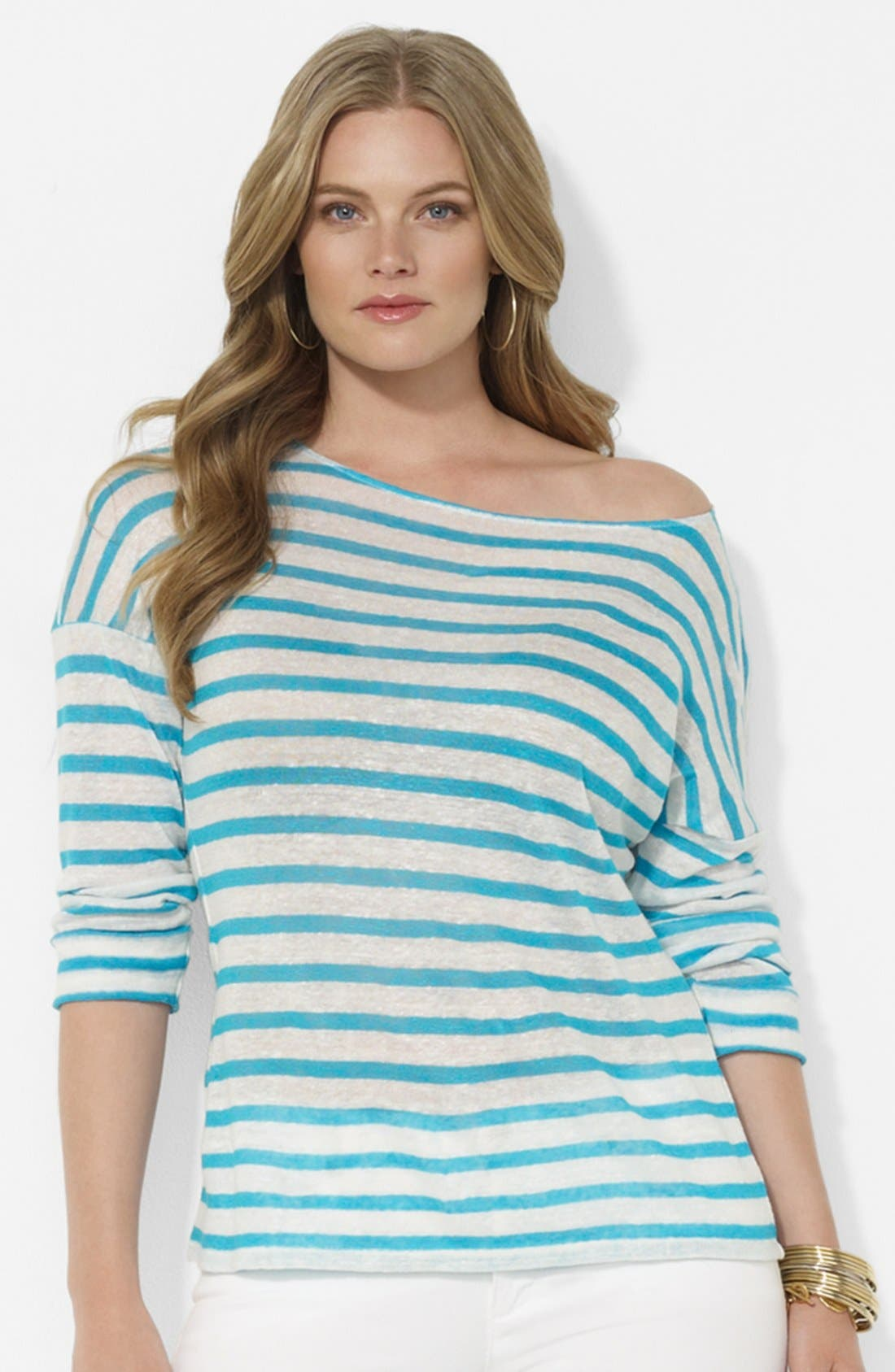 Stripe Drop Shoulder Top,                         Main,                         color, White/ Crystal Turquoise