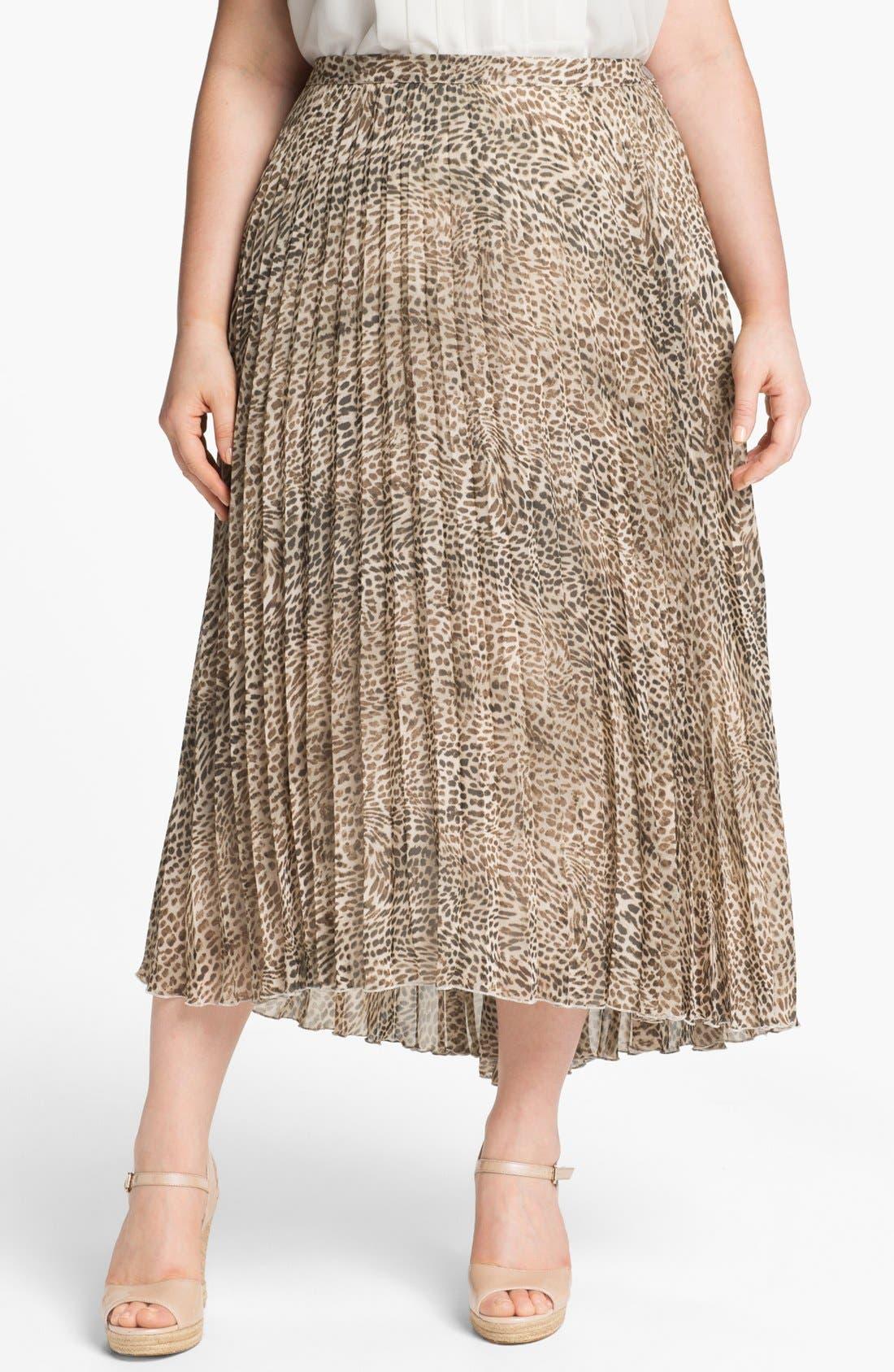 Alternate Image 1 Selected - Vince Camuto Cheetah Print Chiffon Skirt (Plus Size)