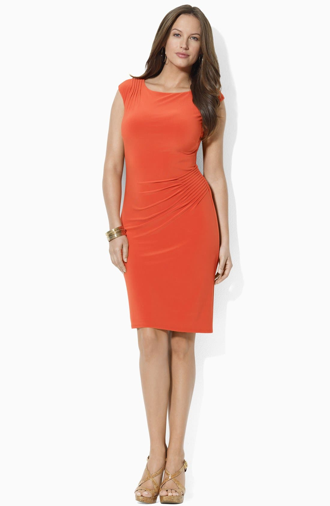 Alternate Image 2  - Lauren Ralph Lauren Pintucked Jersey Sheath Dress (Plus Size)