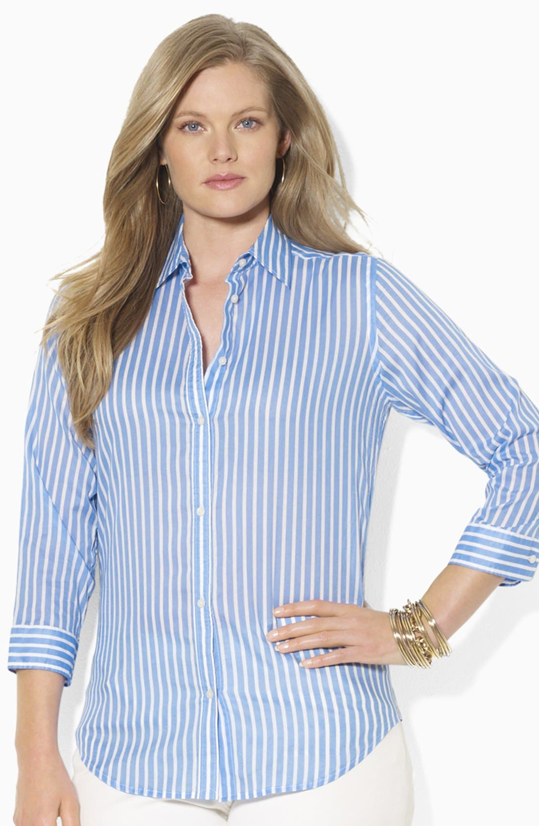 Alternate Image 1 Selected - Lauren Ralph Lauren Stripe Cotton Shirt (Plus Size)