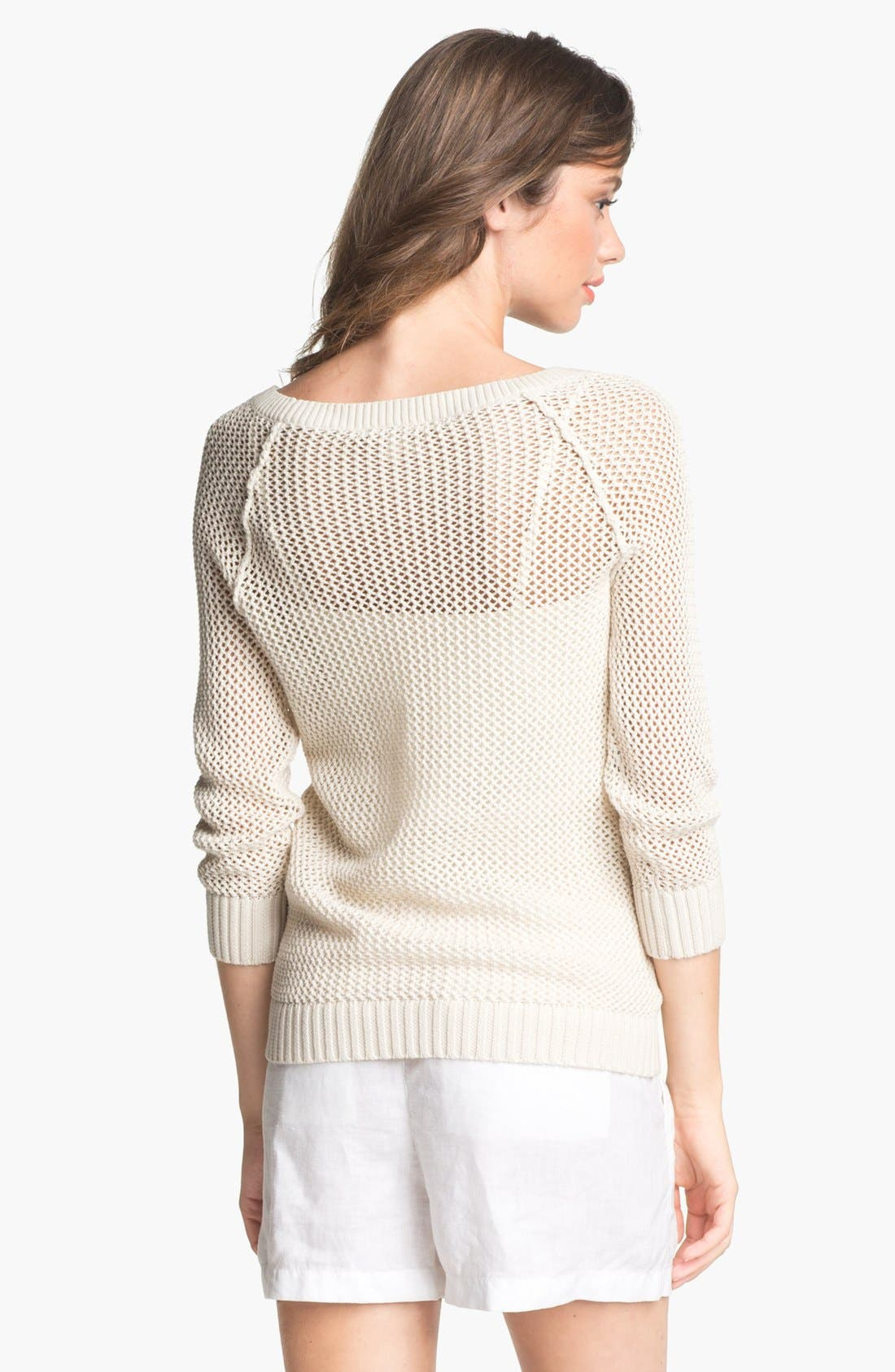 Alternate Image 2  - Caslon® Open Knit Sweater (Regular & Petite)