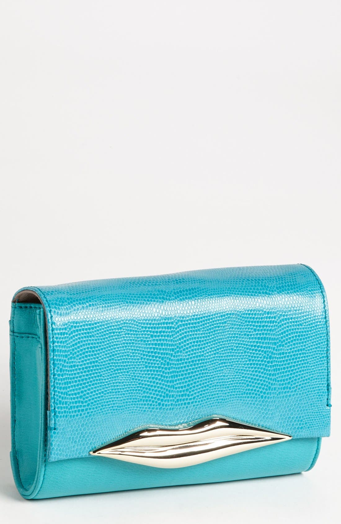 Main Image - Diane von Furstenberg 'Lips - Mini' Embossed Leather Clutch