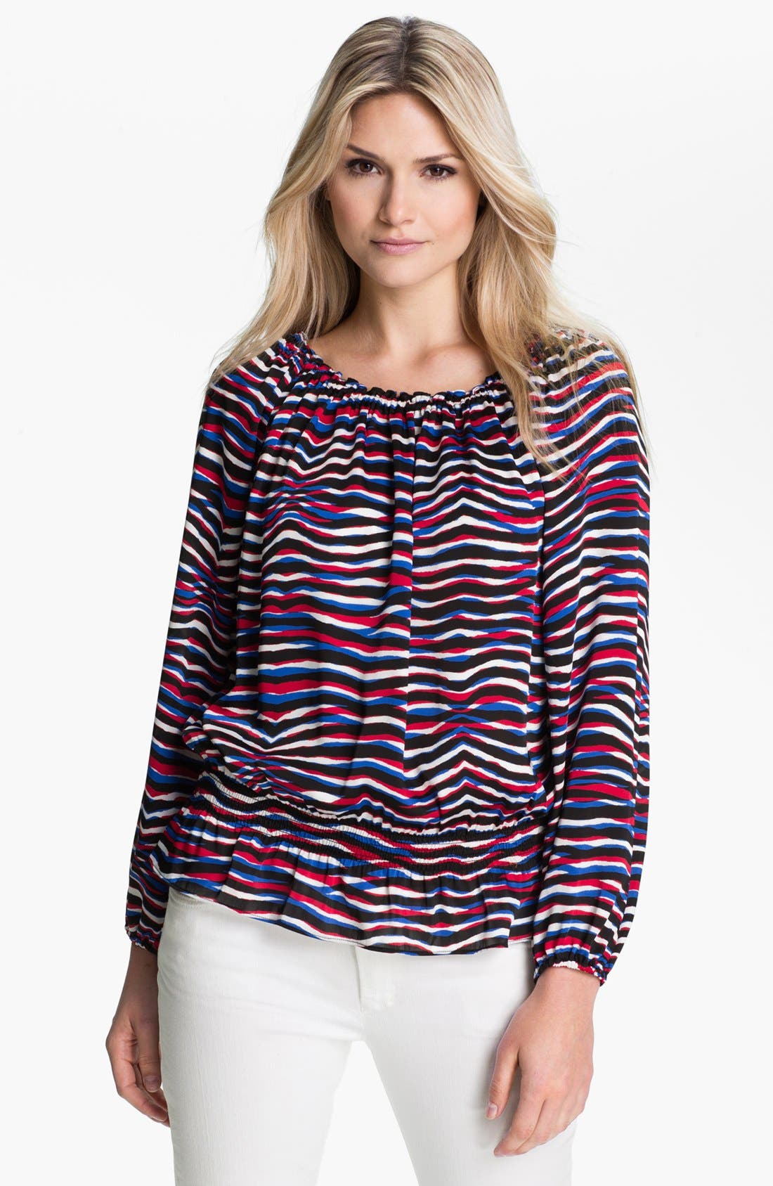 Alternate Image 1 Selected - MICHAEL Michael Kors 'Serengeti' Peasant Top (Petite)
