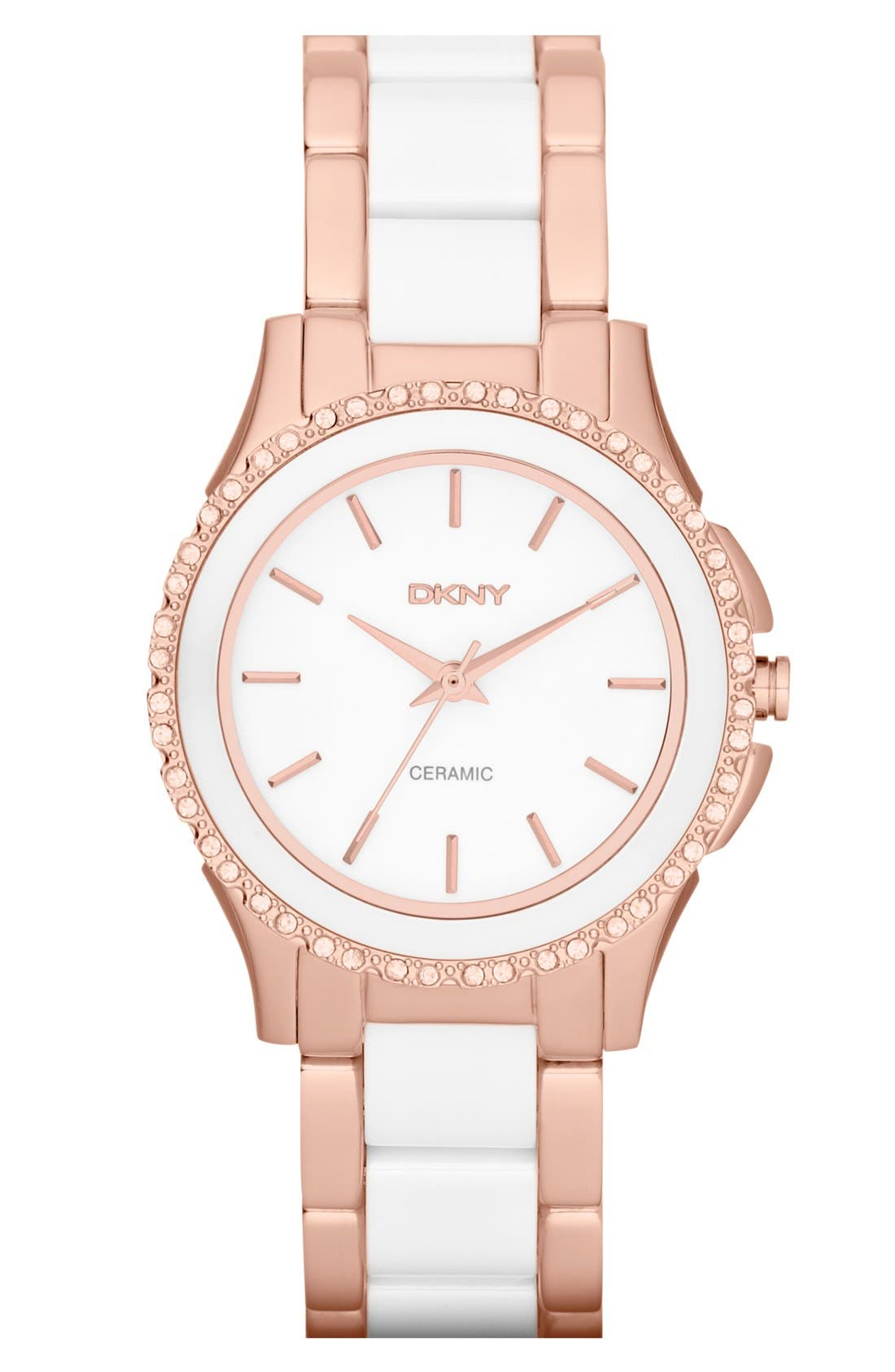 Alternate Image 1 Selected - DKNY 'Westside' Round Two Tone Ceramic Bracelet Watch, 32mm