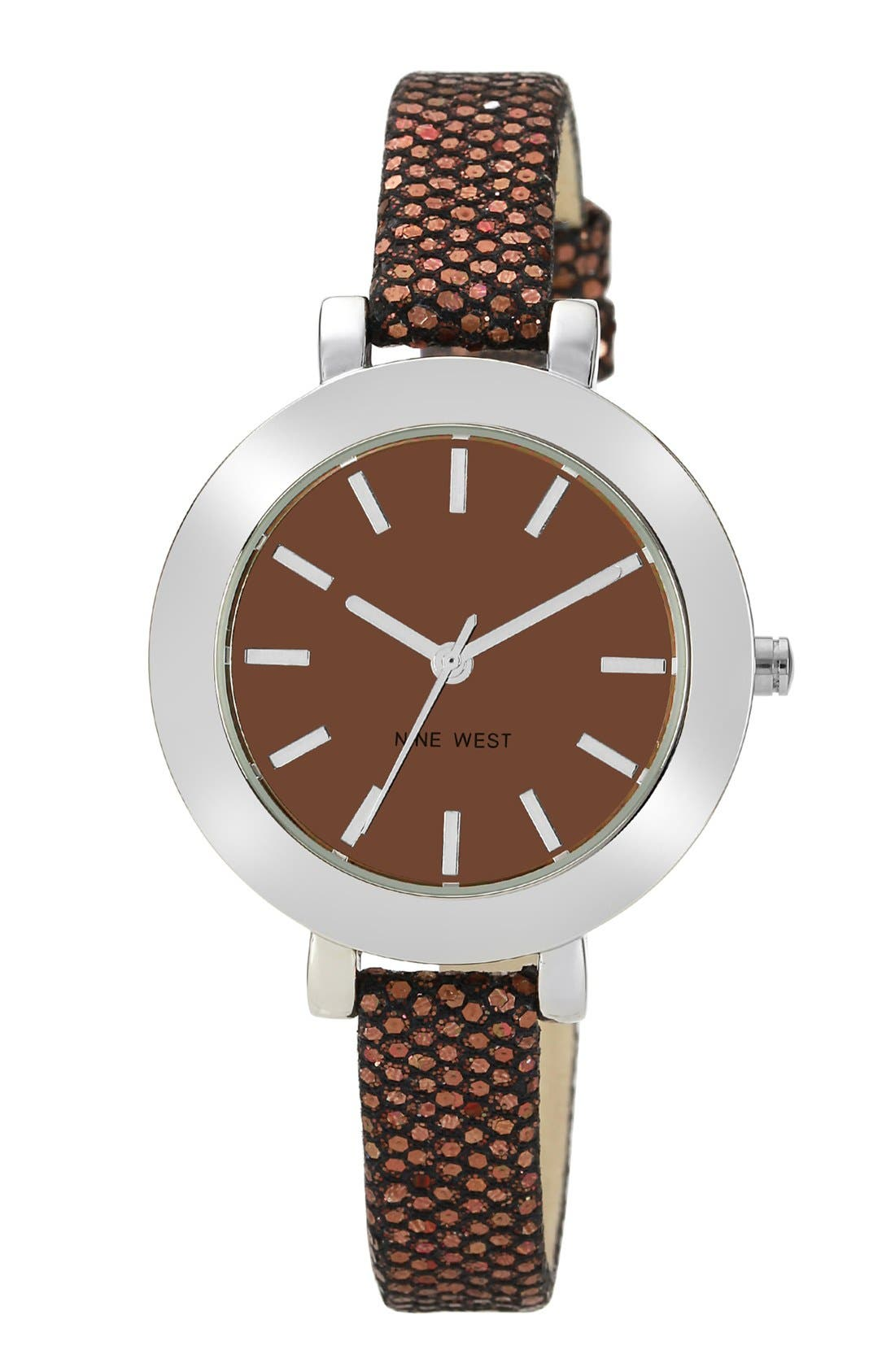 Alternate Image 1 Selected - Nine West Round Skinny Glitter Strap Watch, 35mm