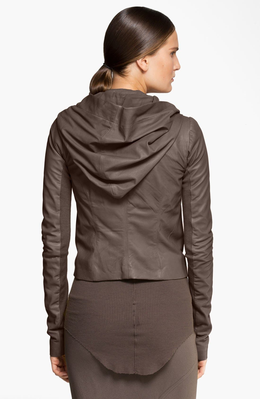 Alternate Image 3  - Rick Owens Hooded Leather Biker Jacket
