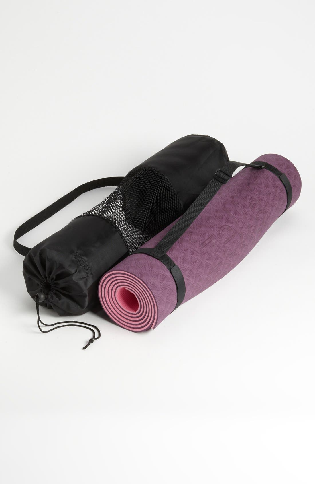 Yoga Mat with Tote & Strap Carrier,                             Main thumbnail 1, color,                             Pink/ Purple