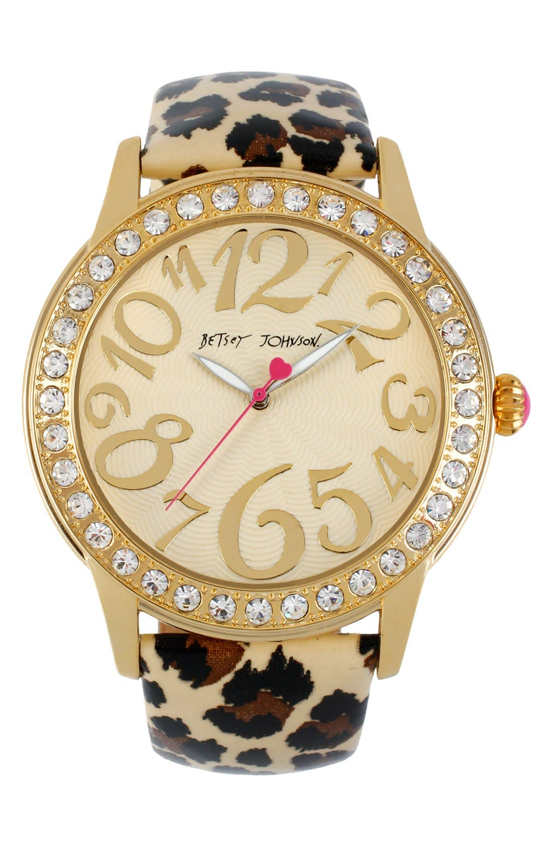 Alternate Image 1 Selected - Betsey Johnson Crystal Bezel & Patent Strap Watch, 48mm