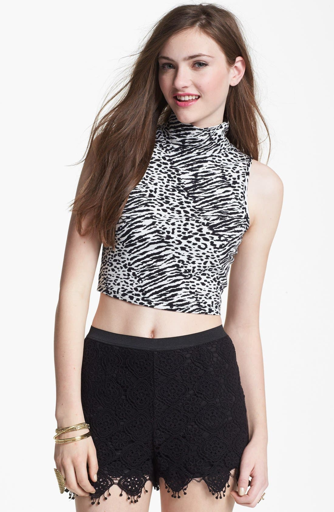 Alternate Image 1 Selected - Living Doll Print Crop Tank (Juniors) (Online Only)