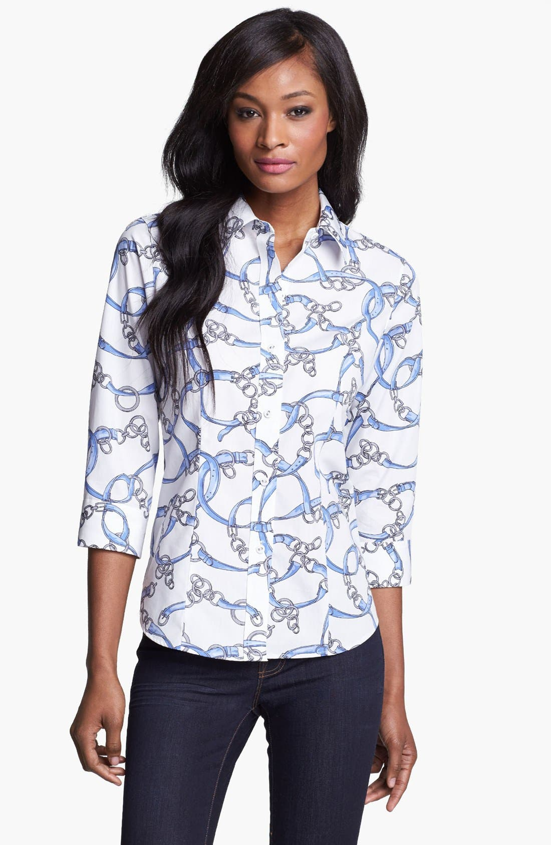 Alternate Image 1 Selected - Foxcroft Scarf Print Fitted Blouse (Petite)