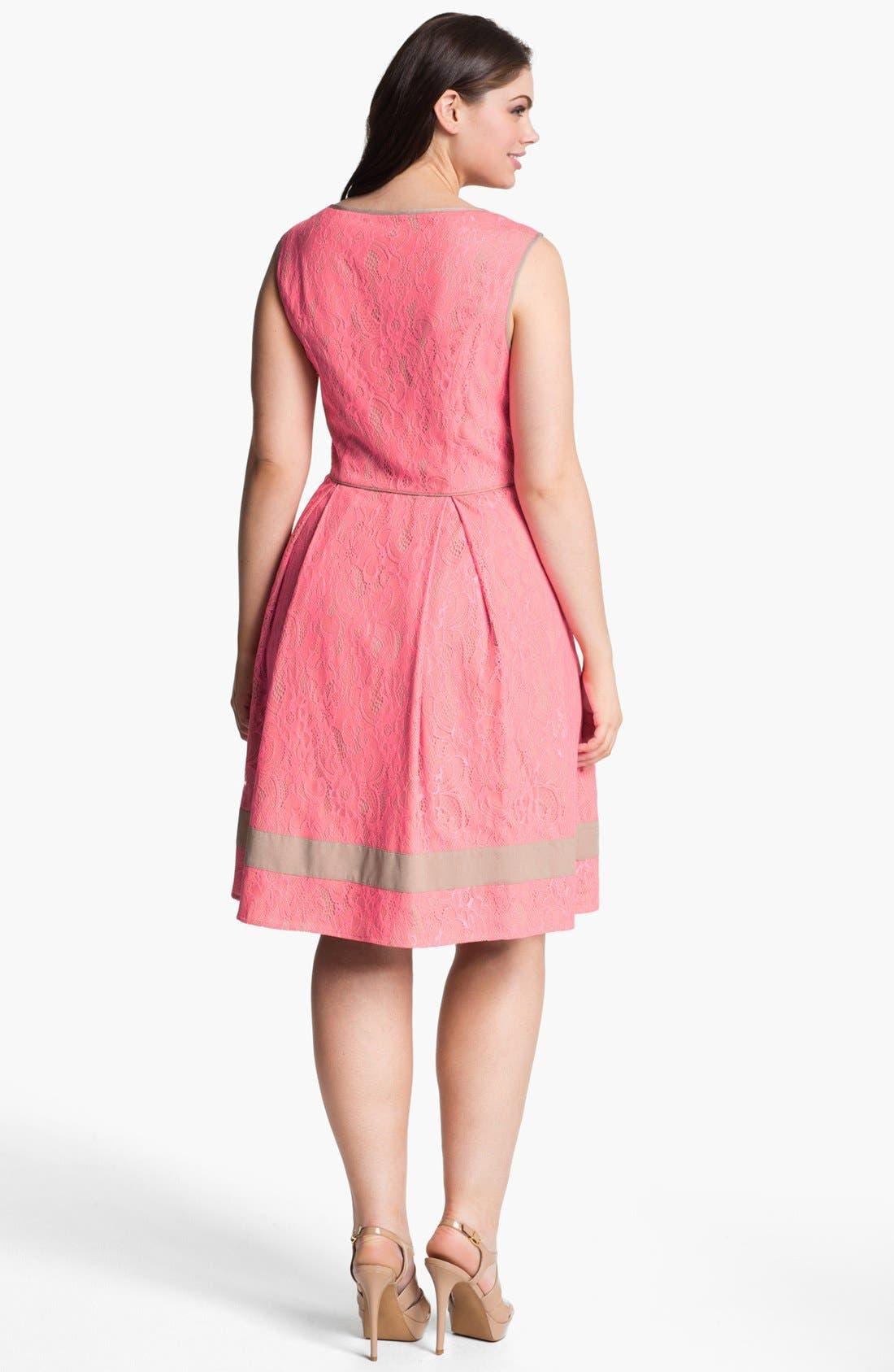 Alternate Image 2  - Jessica Simpson Lace Fit & Flare Dress (Plus Size)