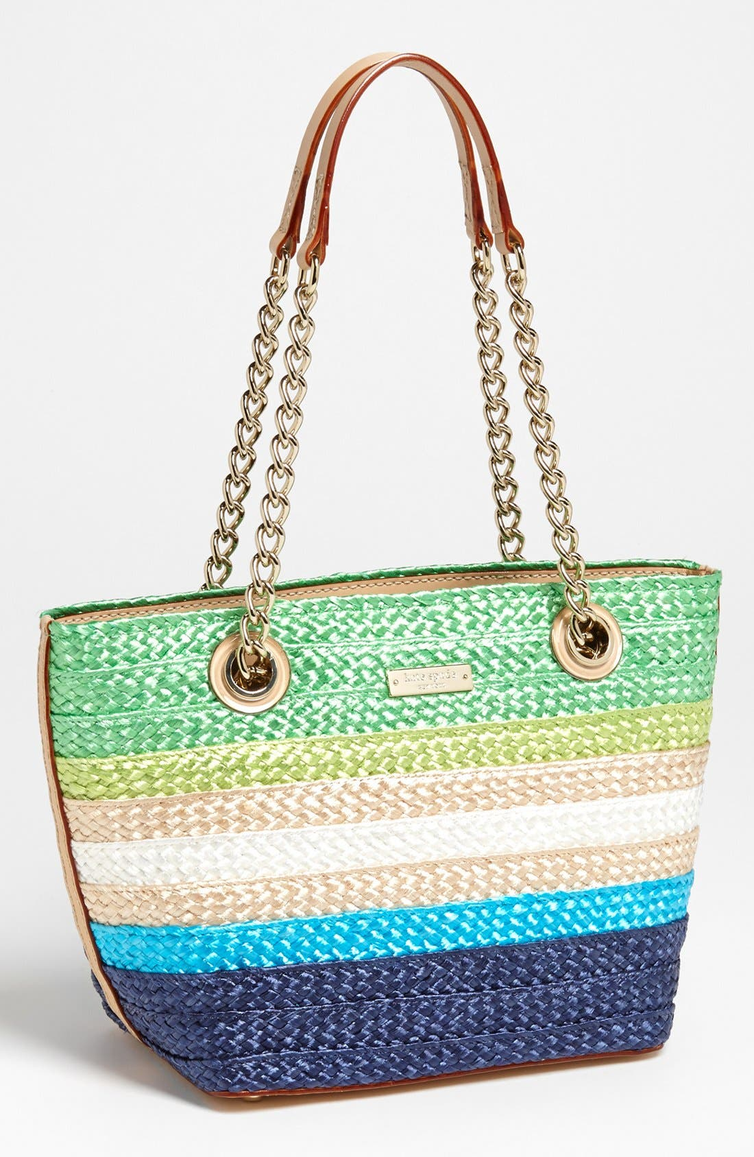 Main Image - kate spade new york 'chelsea market - mini coal' straw tote