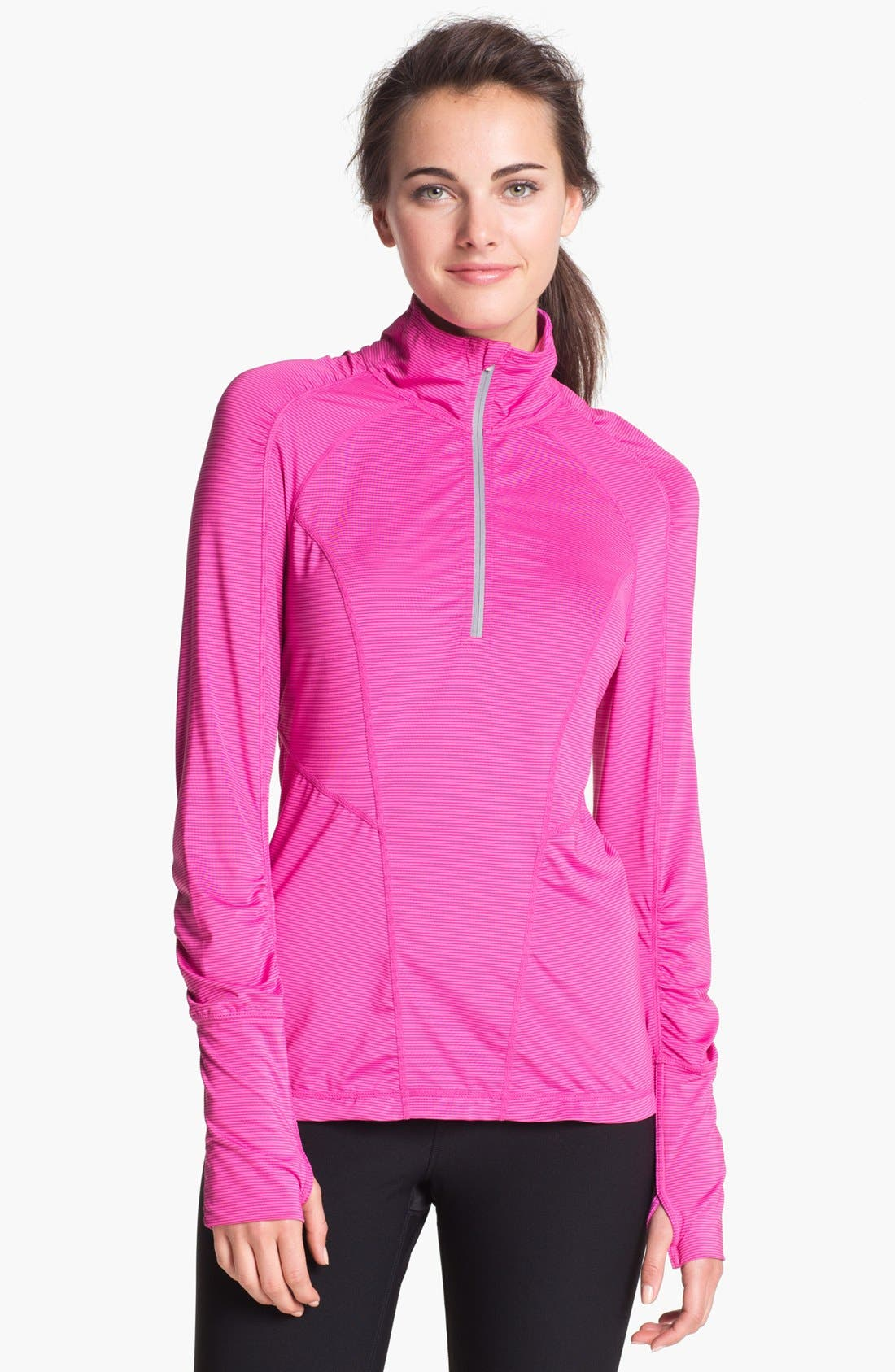 Main Image - Zella 'Ruched Runner' Stripe Half Zip Running Top