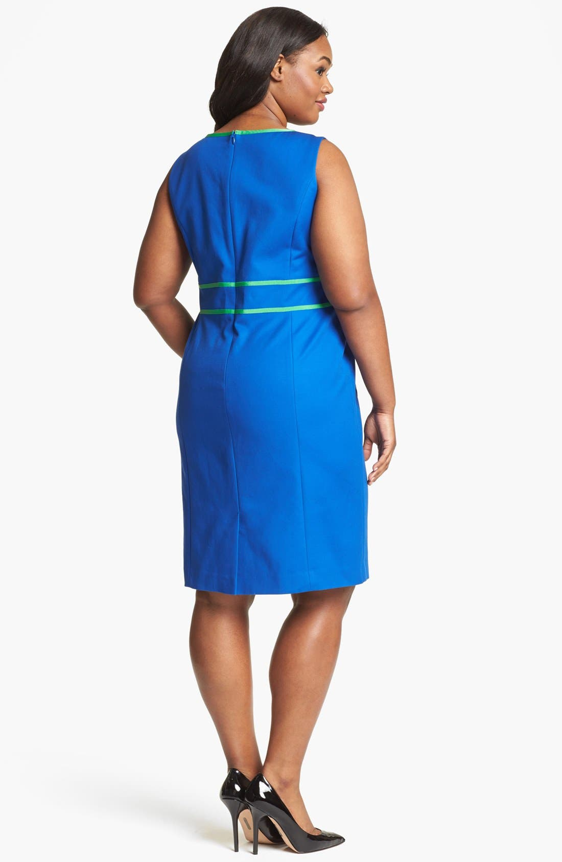 Alternate Image 2  - Anne Klein Contrast Trim Sheath Dress (Plus Size)